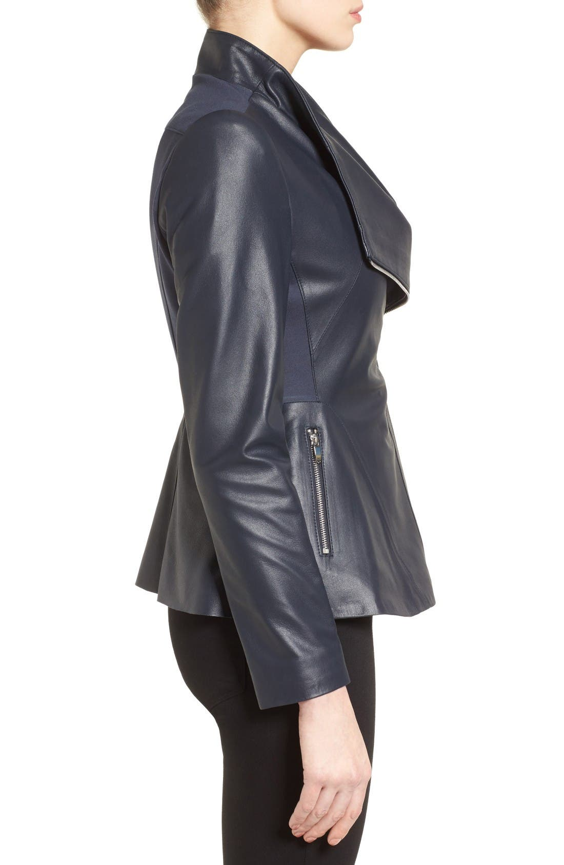 Alternate Image 3  - Via Spiga Asymmetrical Zip Leather & Ponte Jacket