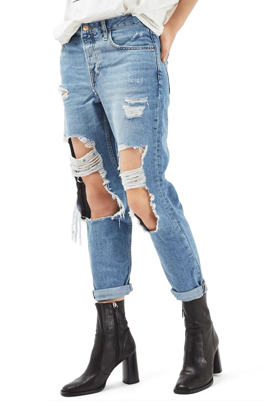 Hayden Ripped Boyfriend Jeans,                             Main thumbnail 1, color,                             Mid Denim
