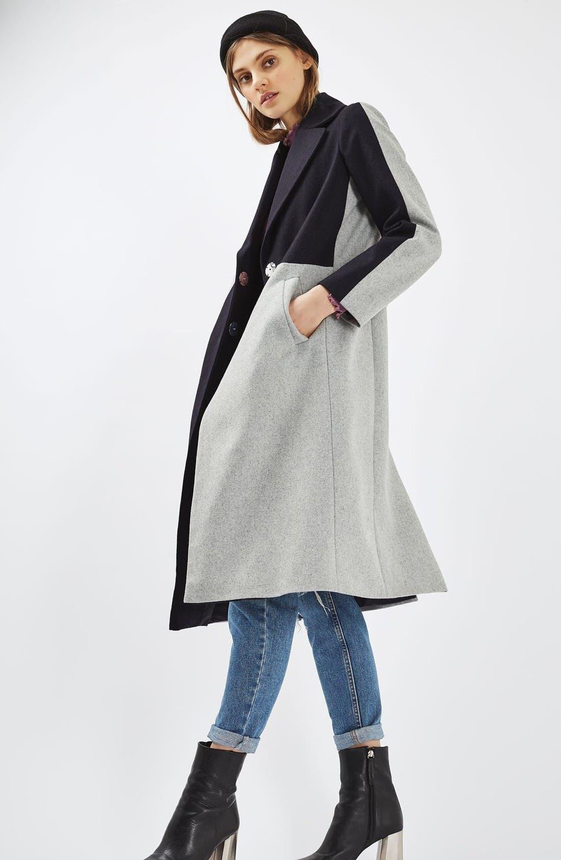 Alternate Image 2  - Topshop Colorblock Wool Blend Coat