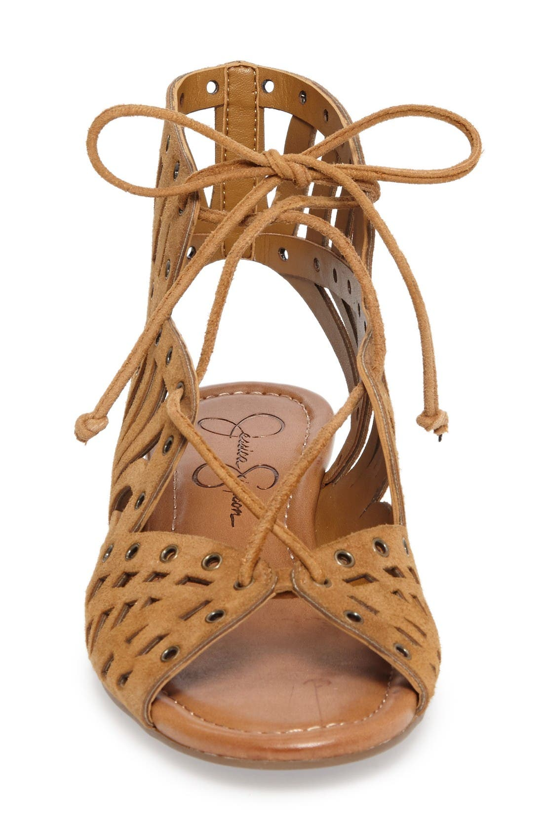 Lalaine Ghillie Lace Sandal,                             Alternate thumbnail 3, color,                             Honey Brown Suede