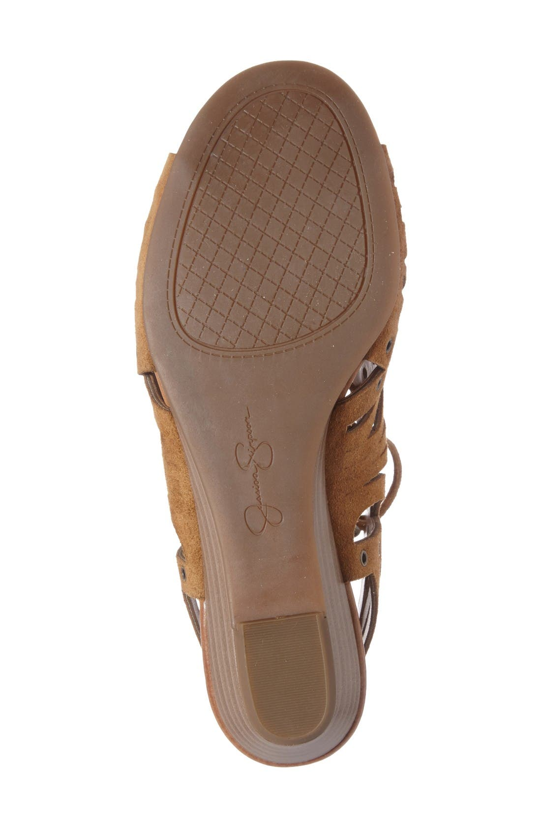 Lalaine Ghillie Lace Sandal,                             Alternate thumbnail 4, color,                             Honey Brown Suede
