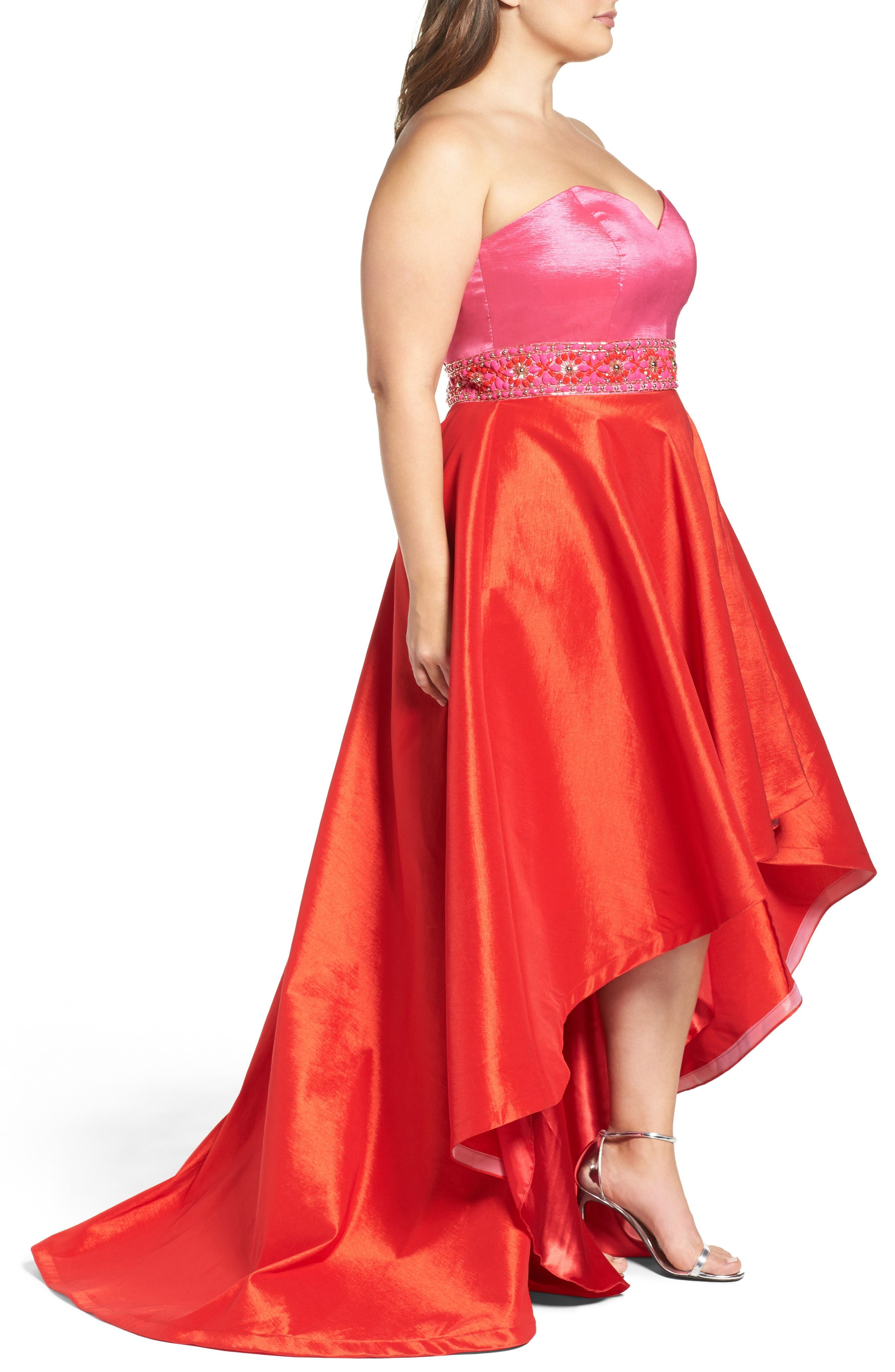 Strapless Colorblock High/Low Gown,                             Alternate thumbnail 3, color,                             Hot Pink/ Cherry