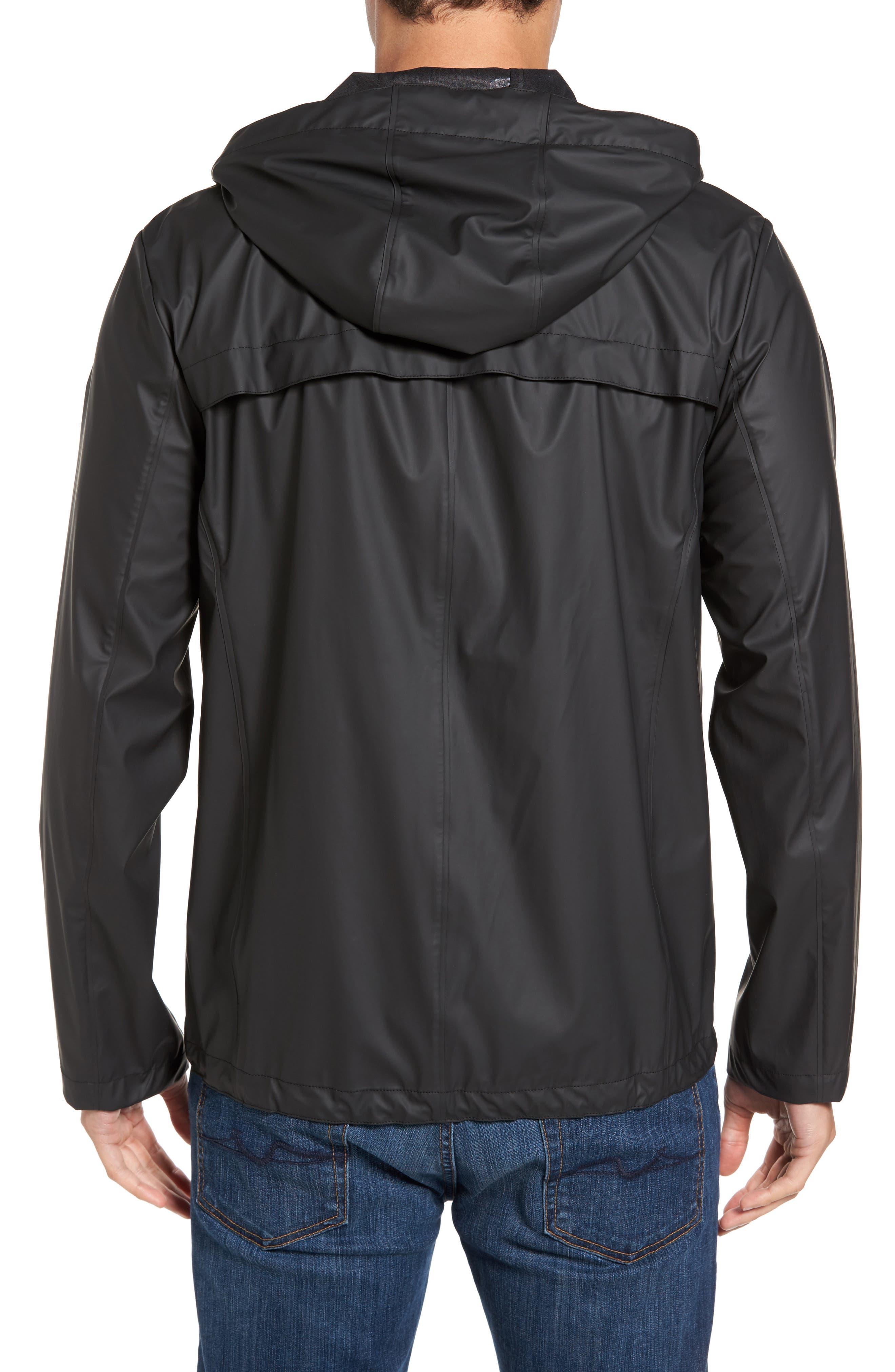 Rubberized Hooded Jacket,                             Alternate thumbnail 2, color,                             Black