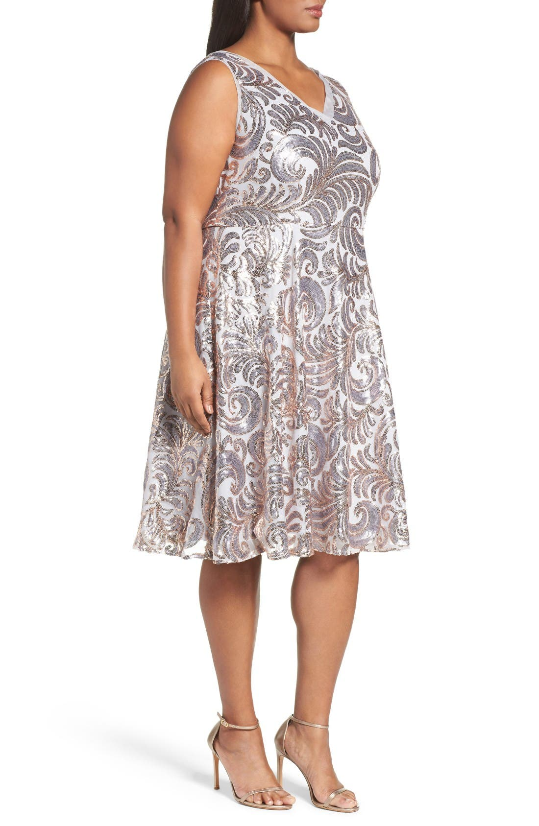 Sequin Fit & Flare Dress,                             Alternate thumbnail 3, color,                             Gold/ Silver
