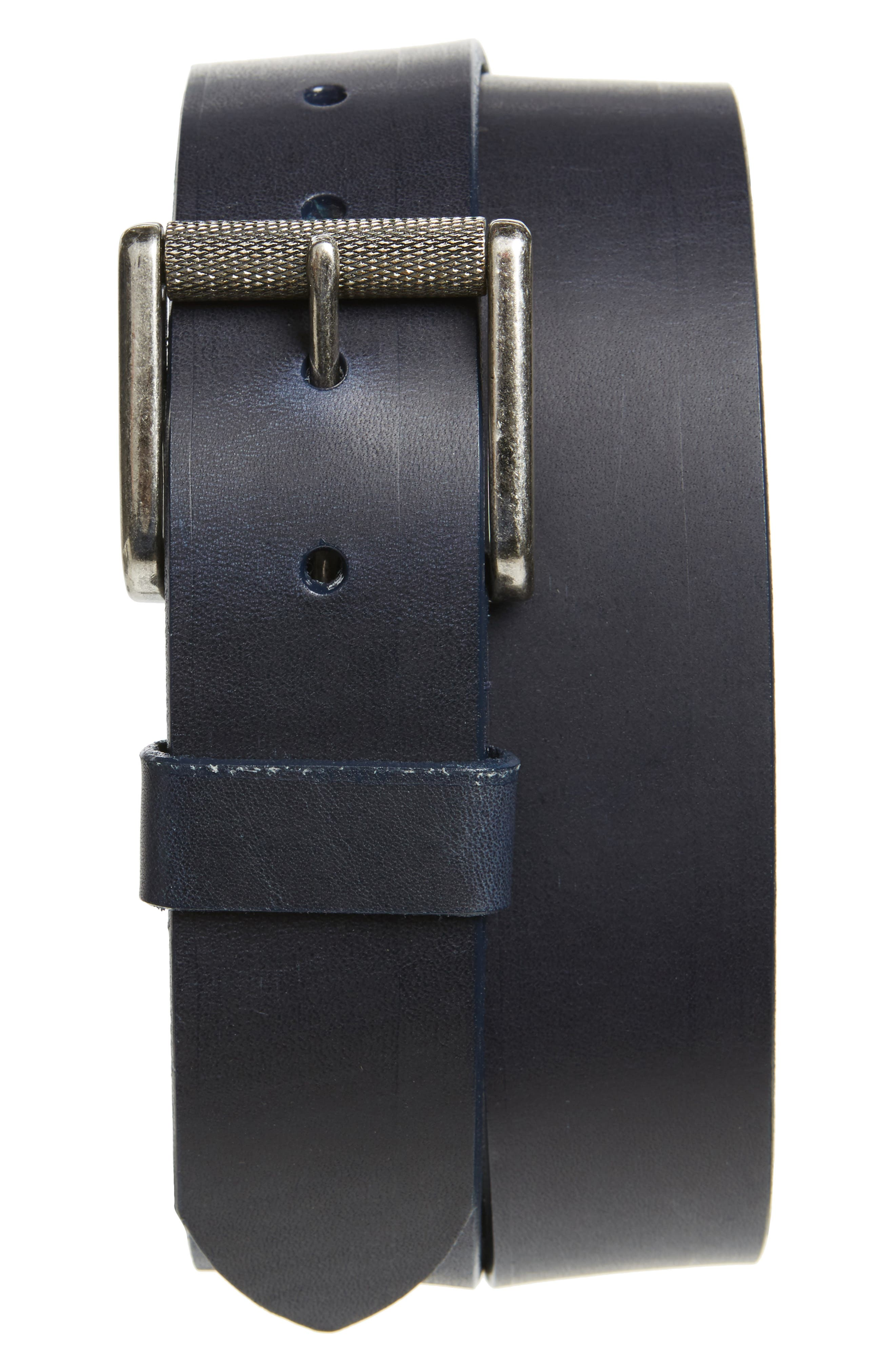 Norris Horween<sup>®</sup> Leather Belt,                             Main thumbnail 1, color,                             Indigo