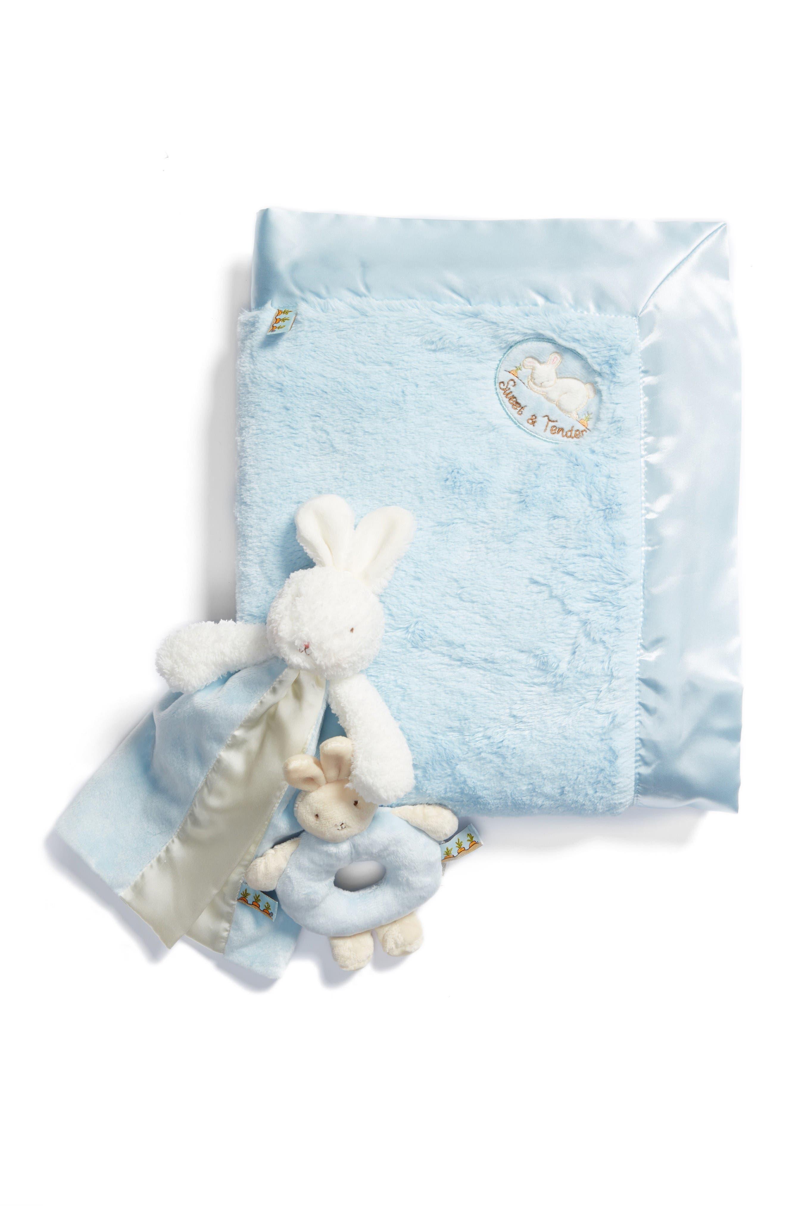 Blanket, Lovey & Teething Ring Set,                             Main thumbnail 1, color,                             Blue