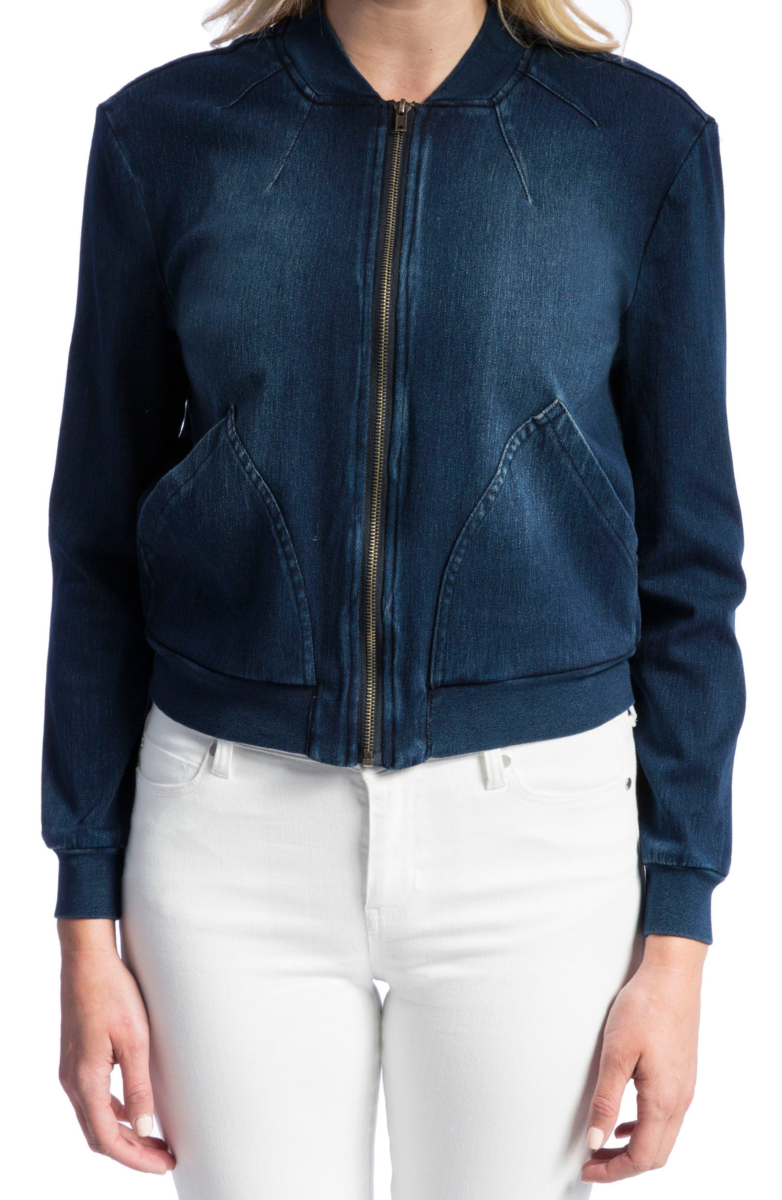 Denim Knit Bomber Jacket,                         Main,                         color, Dark Americana