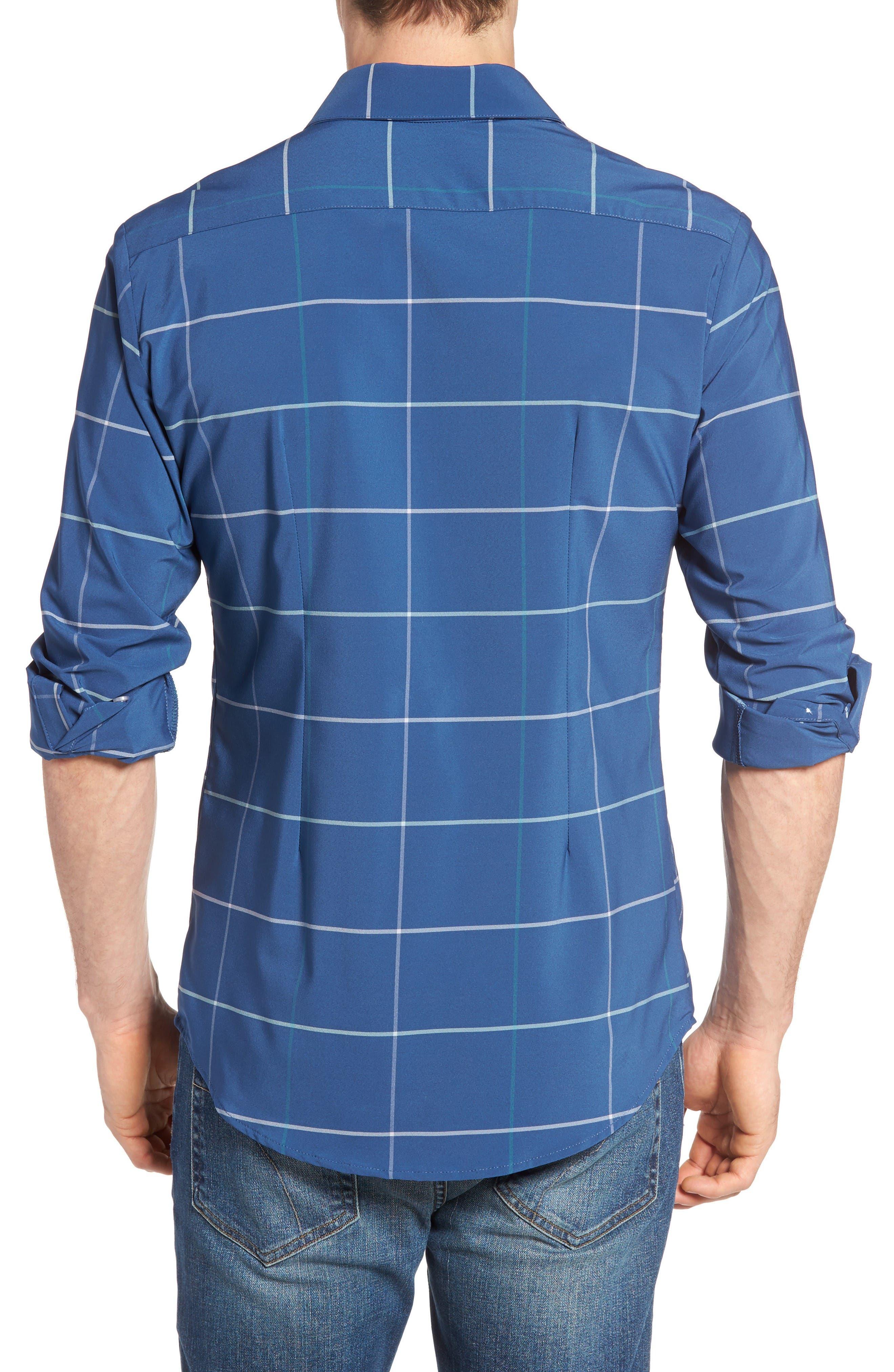 Chesapeake Windowpane Performance Sport Shirt,                             Alternate thumbnail 2, color,                             Navy