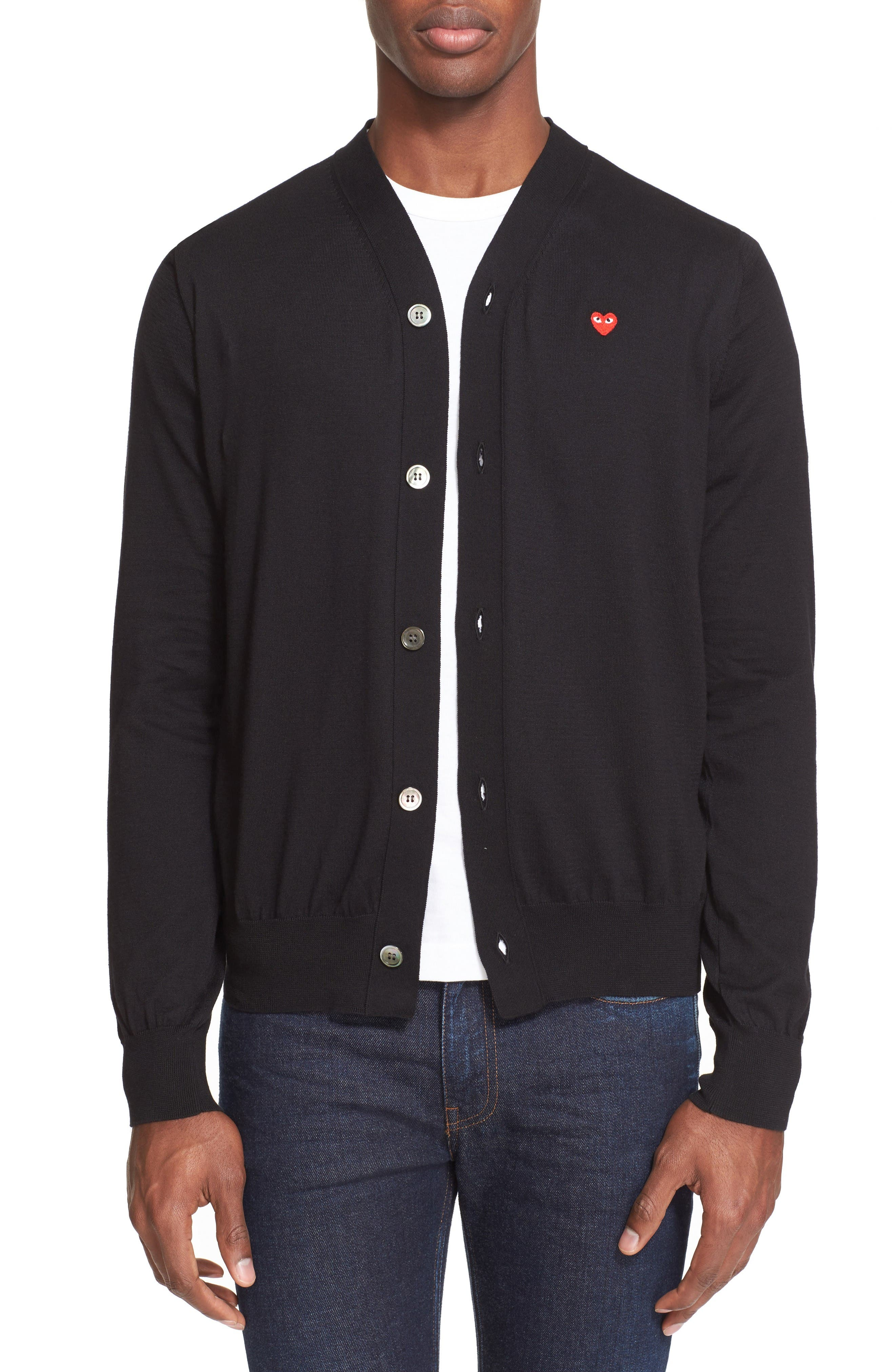 Comme des Garçons PLAY Heart Logo Cardigan,                             Main thumbnail 1, color,                             Black