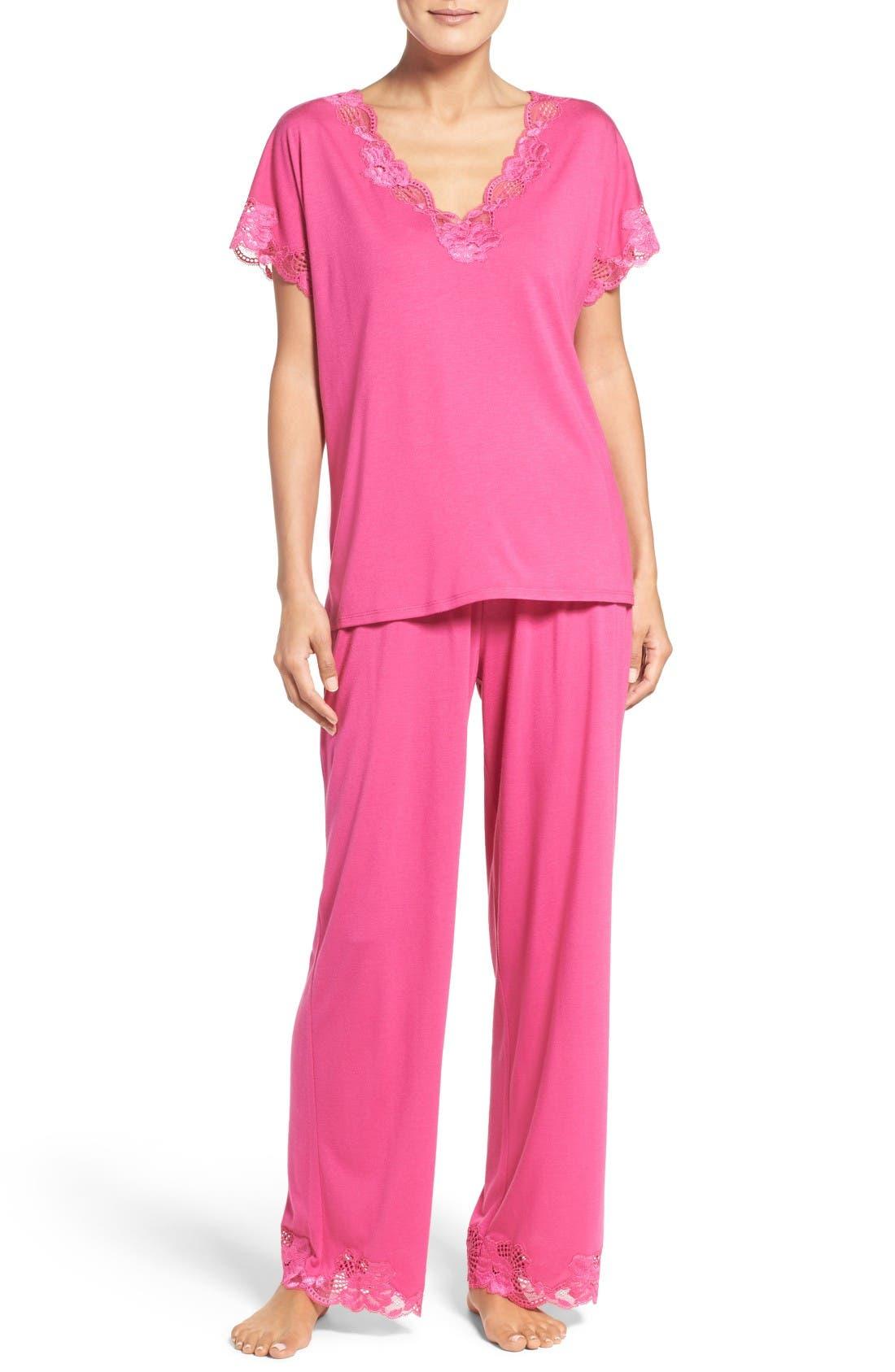 'Zen Floral' Pajama Set,                             Main thumbnail 1, color,                             Beets