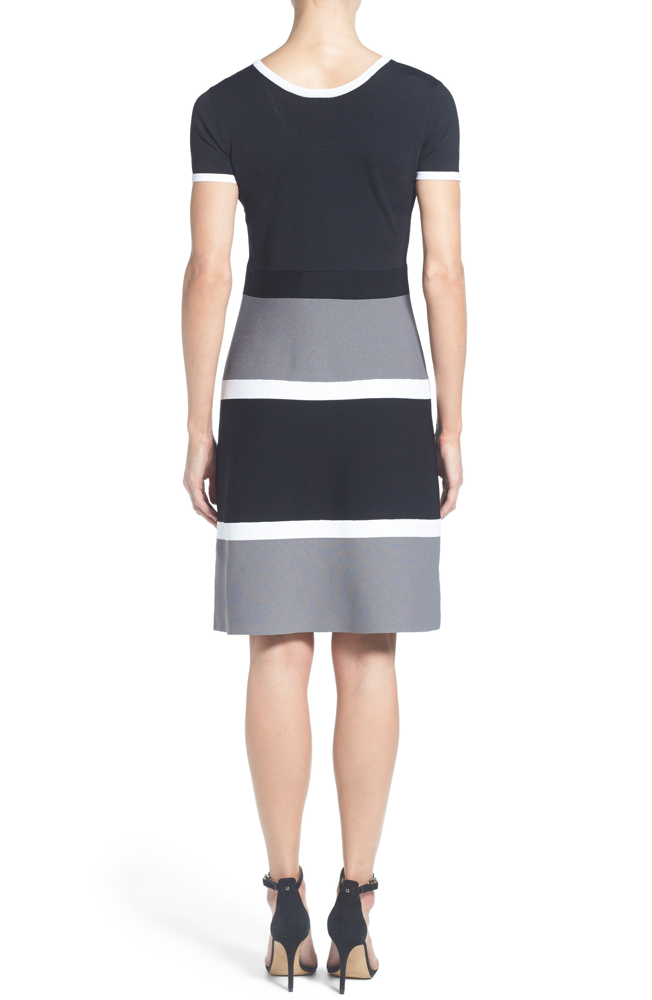 Colorblock A-Line Knit Dress,                             Alternate thumbnail 2, color,                             Gray Combo