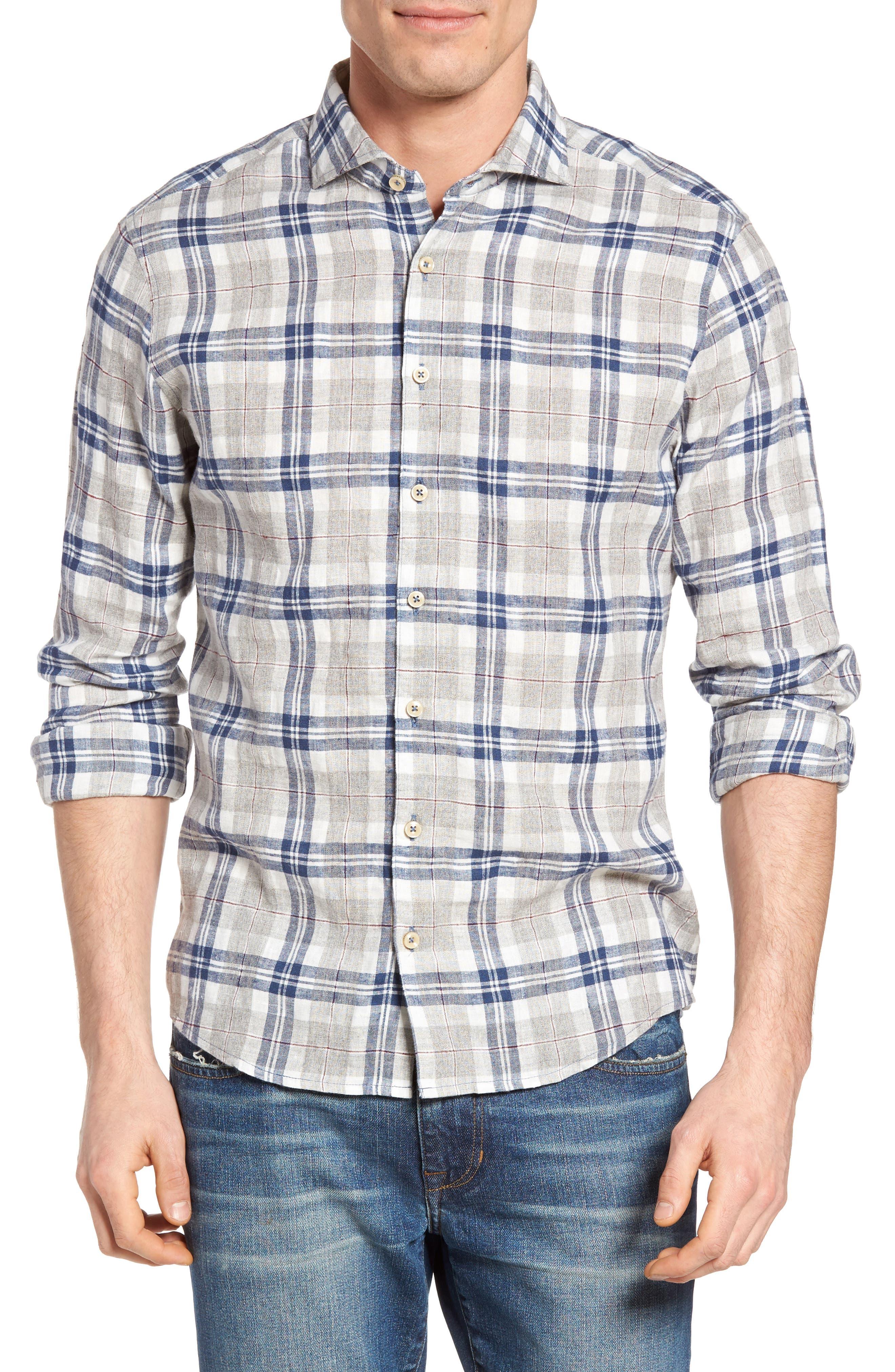Singer + Sargent Brushed Linen Blend Plaid Sport Shirt