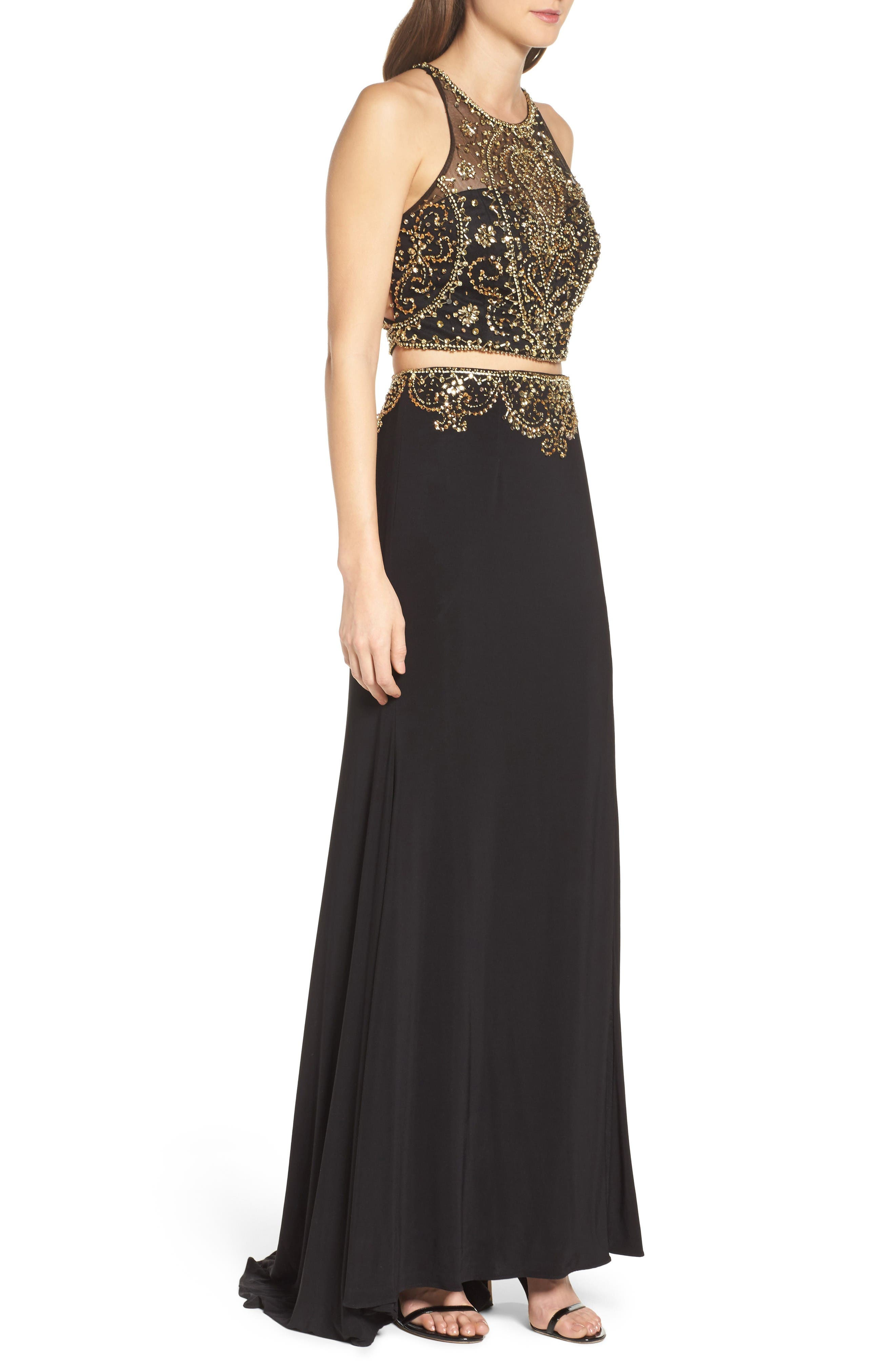 Embellished Two-Piece Gown,                             Alternate thumbnail 3, color,                             Onyx