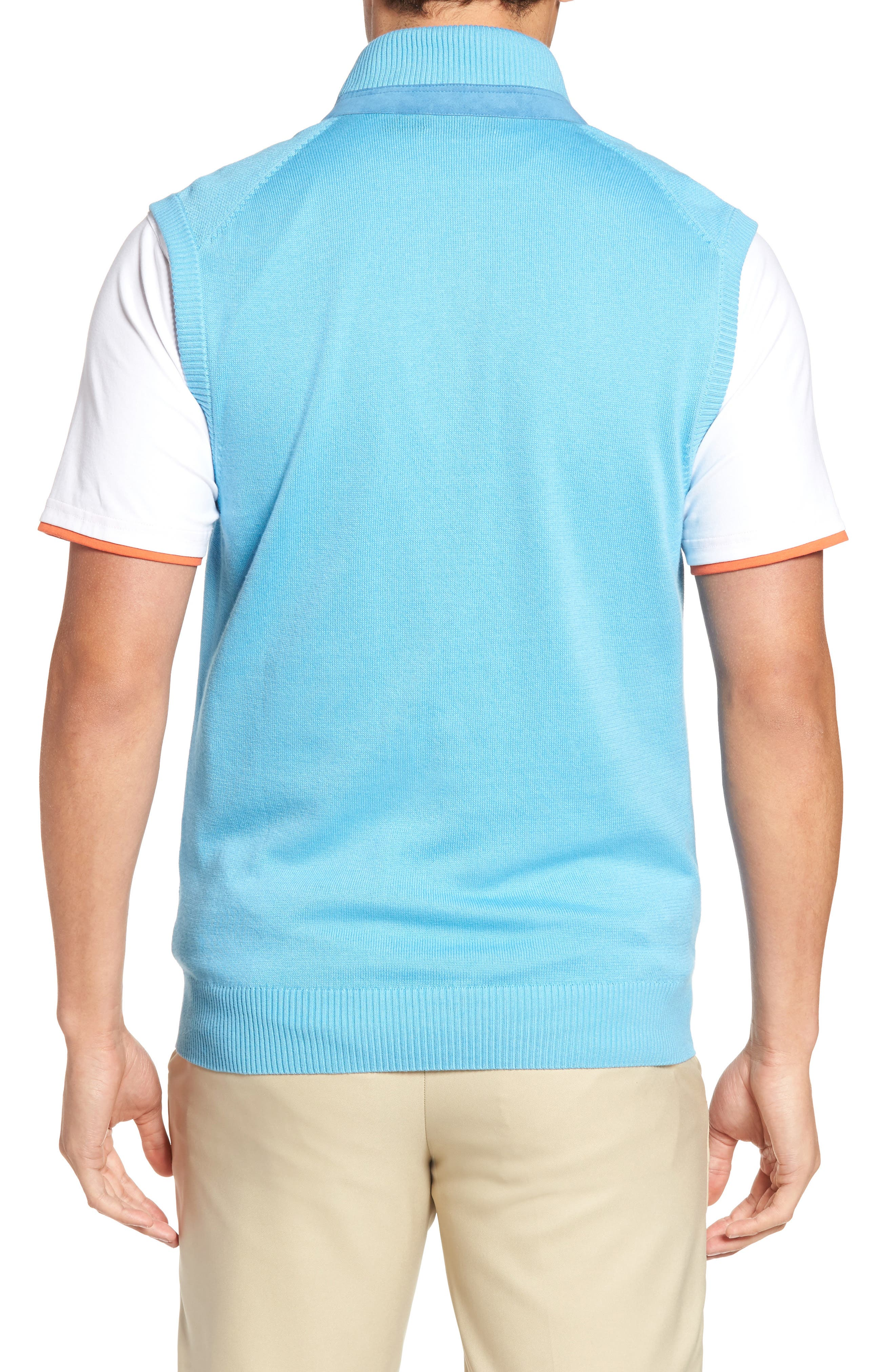 Alternate Image 2  - Bobby Jones Piqué Jersey Quarter Zip Golf Vest