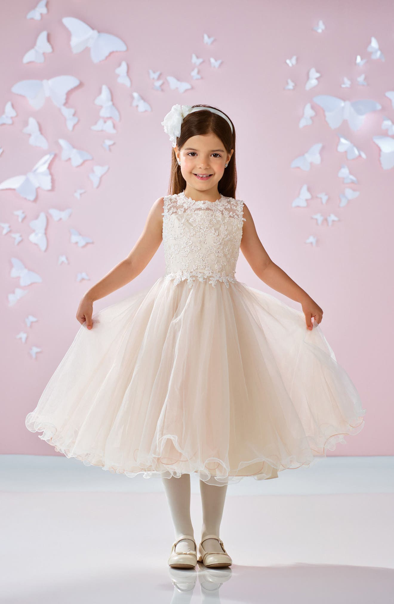 Joan Calabrese for Mon Cheri Beaded Lace & Tulle First Communion Dress (Little Girls & Big Girls)