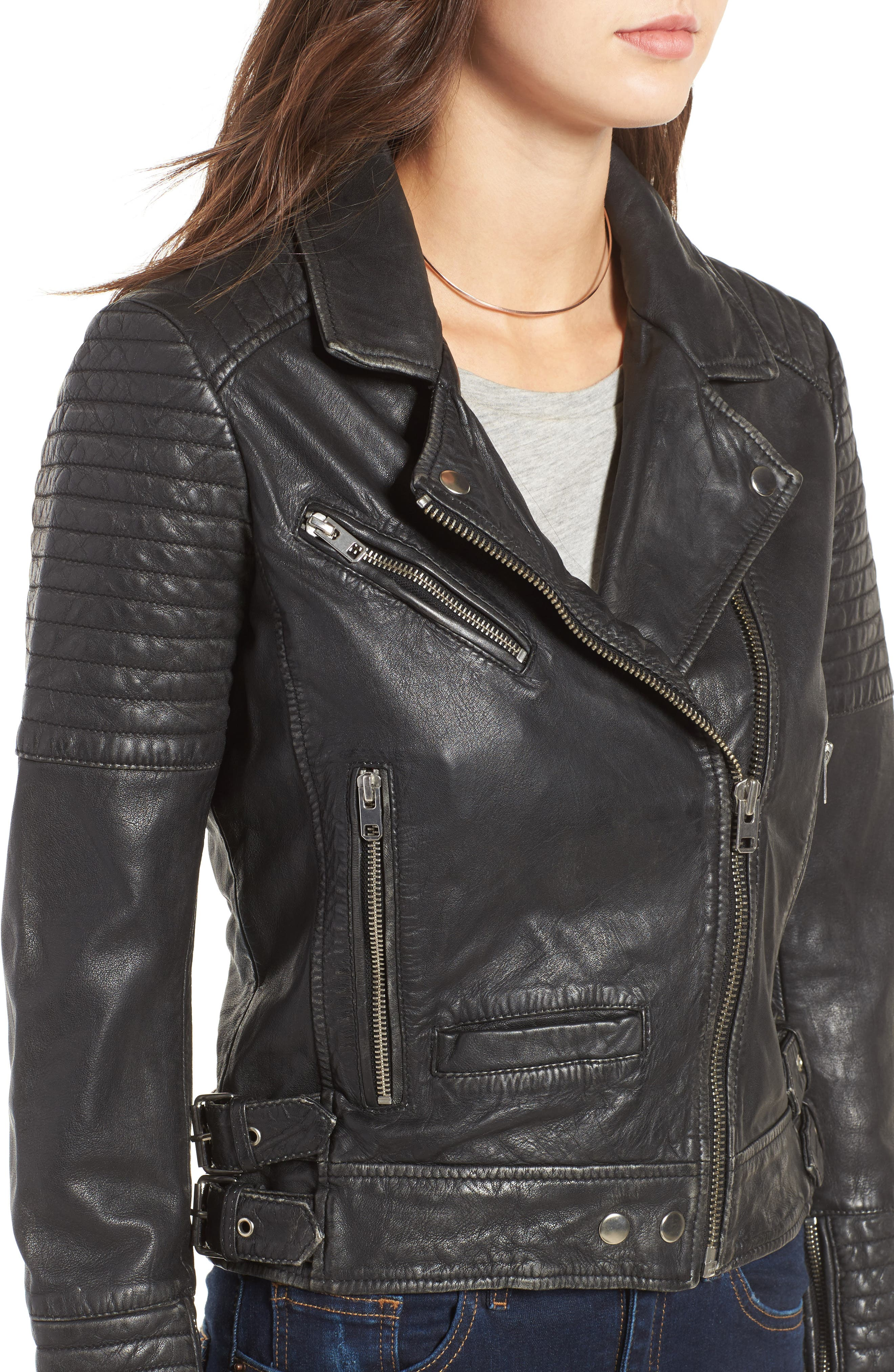 Alternate Image 5  - Topshop Elton Quilted Leather Jacket