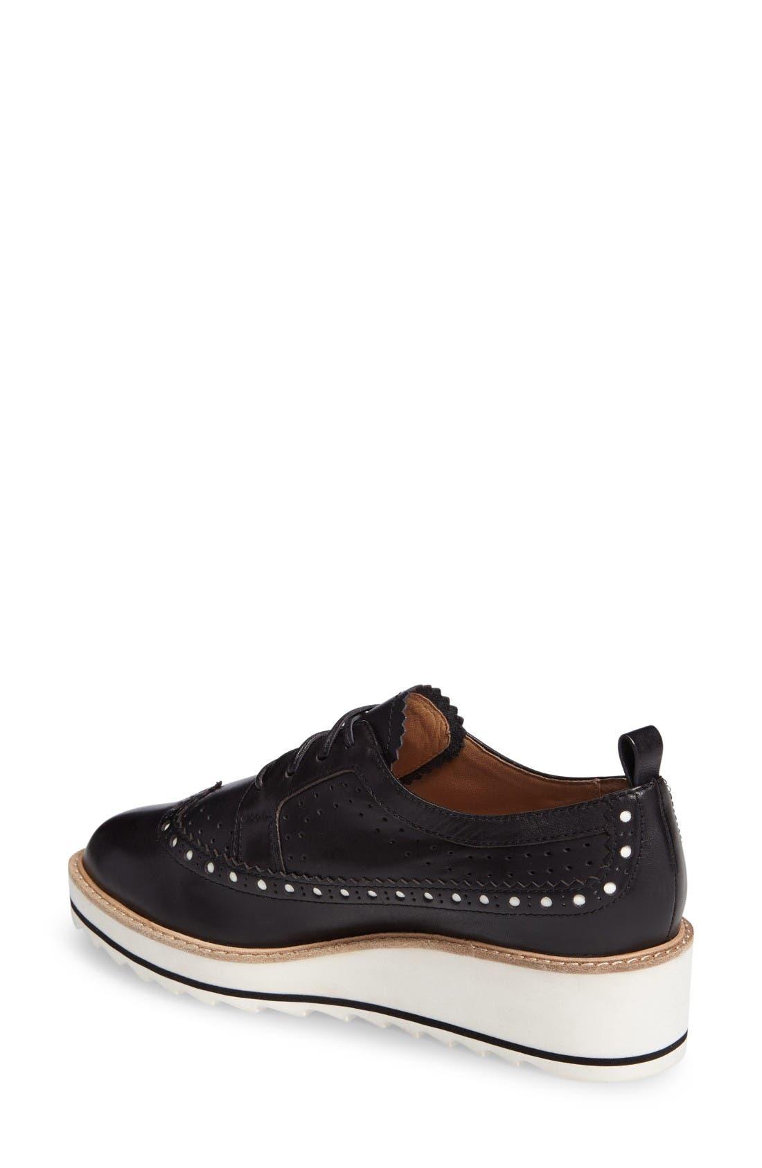 Malti Platform Wedge Oxford,                             Alternate thumbnail 2, color,                             Black Leather