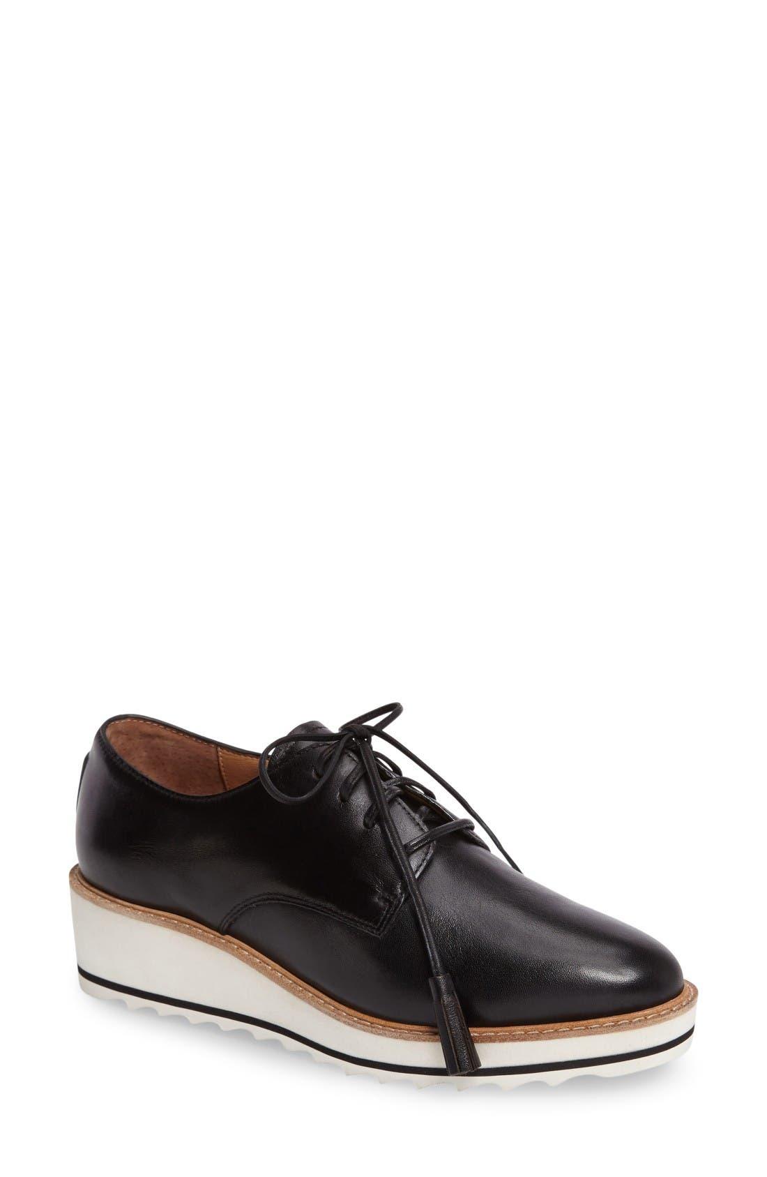 Marlo Platform Oxford,                         Main,                         color, Black Leather