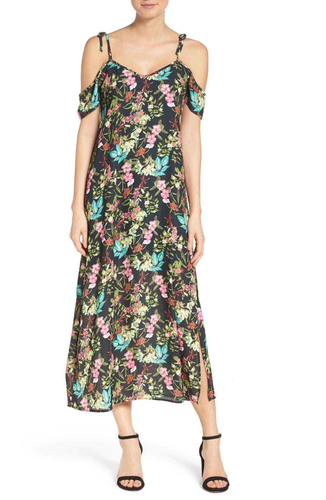 NSR Tie Cold Shoulder Midi Dress