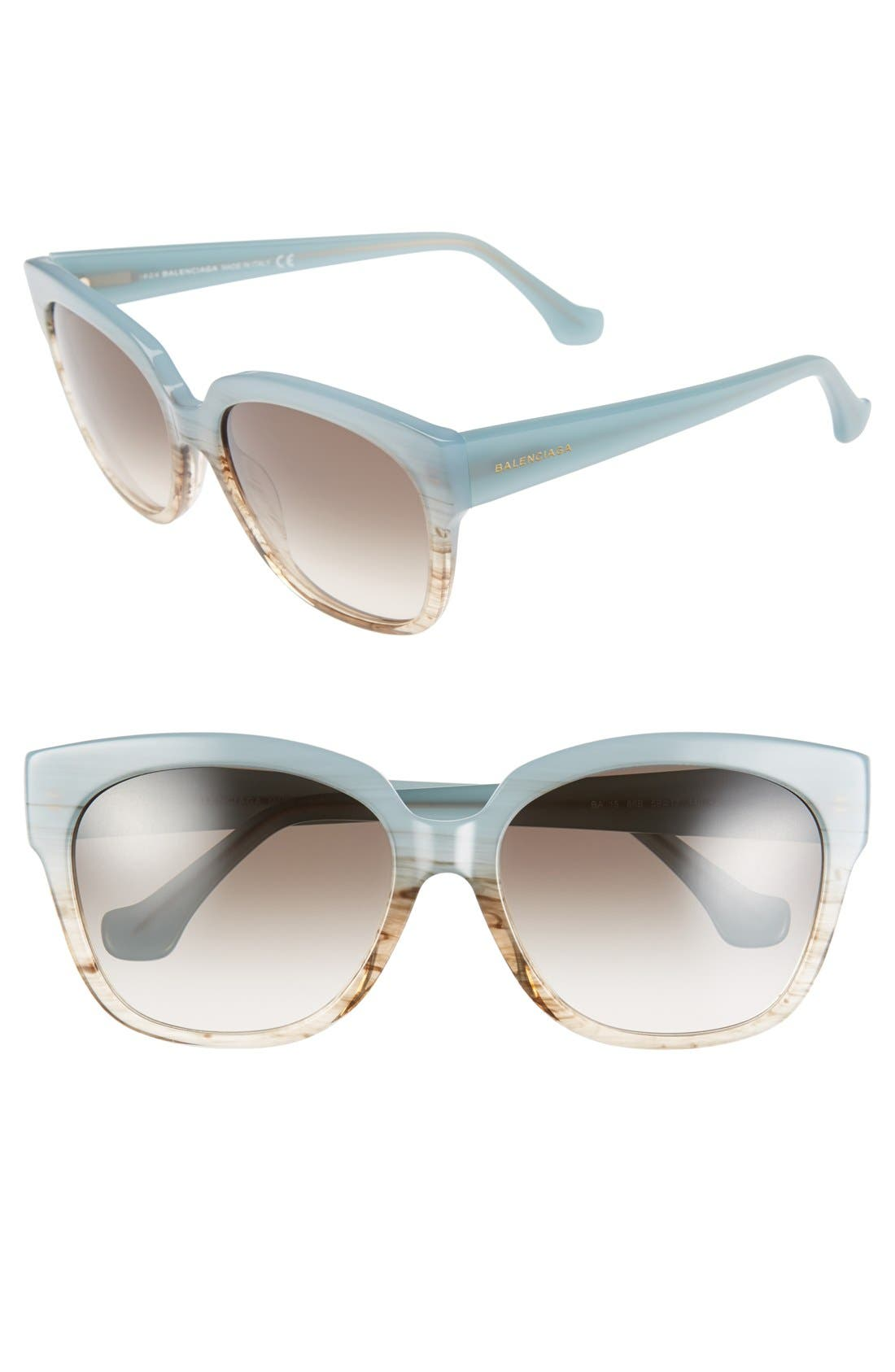 59mm 'BA0015' Sunglasses,                         Main,                         color, Aquamarine Gradient/ Brown