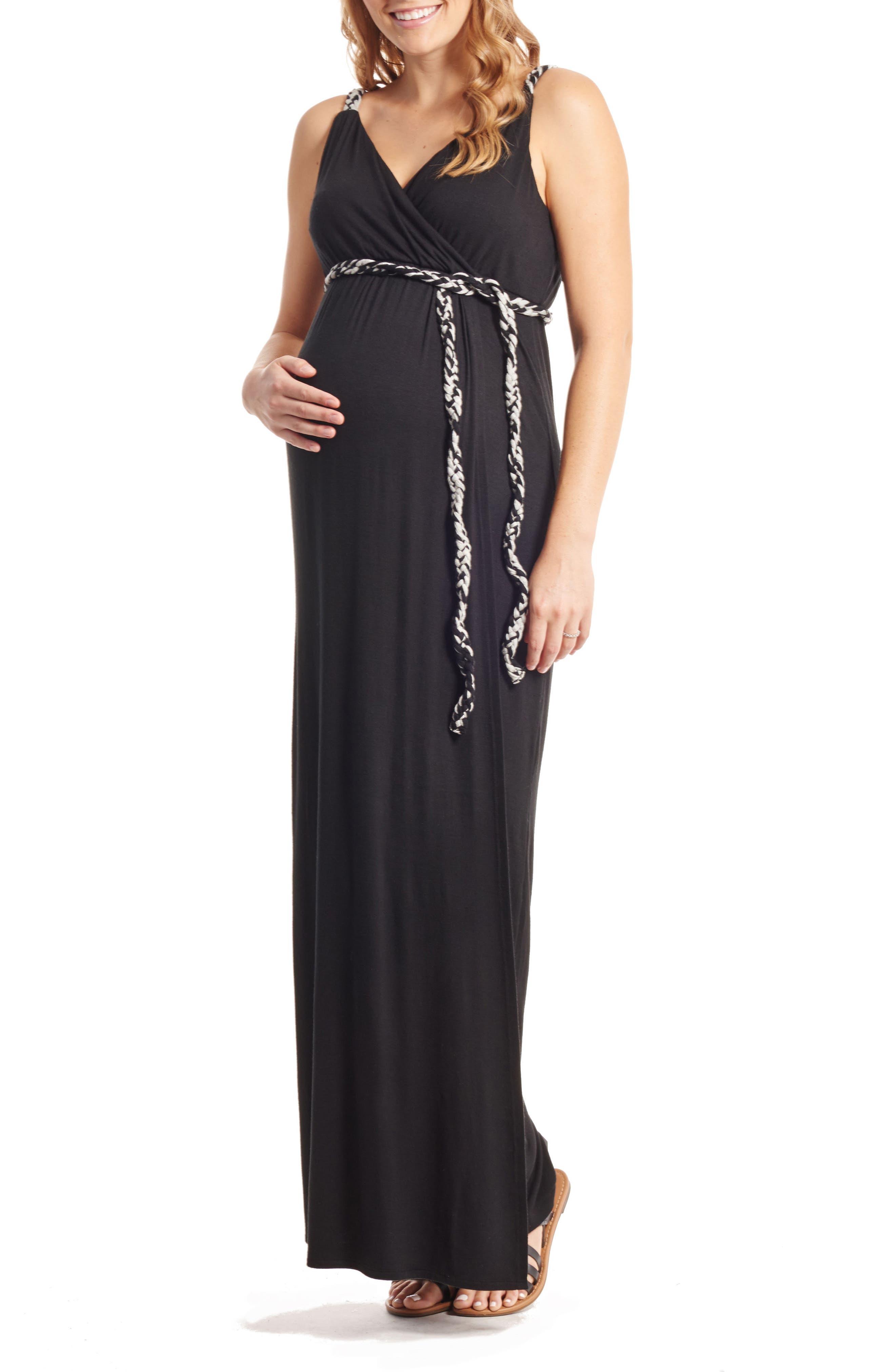 Sofia Maternity/Nursing Maxi Dress,                         Main,                         color, Black