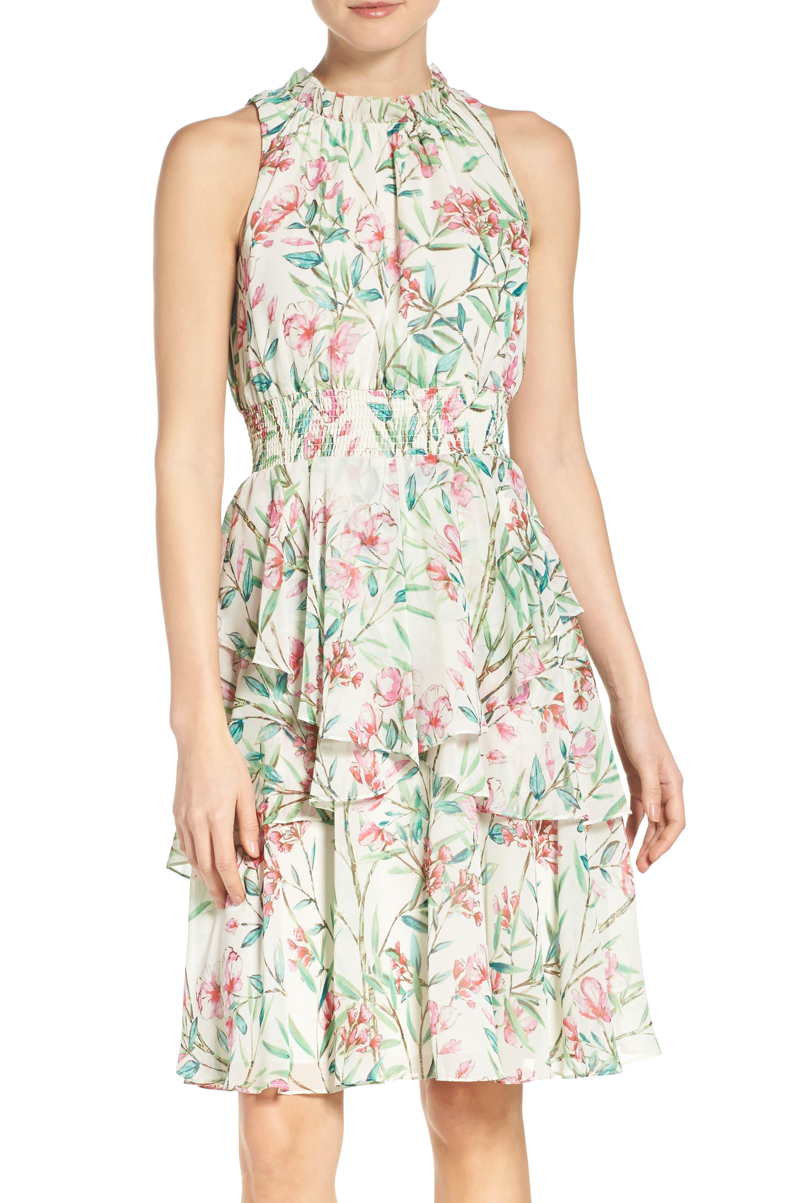 Chiffon Fit & Flare Dress,                             Main thumbnail 1, color,                             Ivory/ Pink/ Green