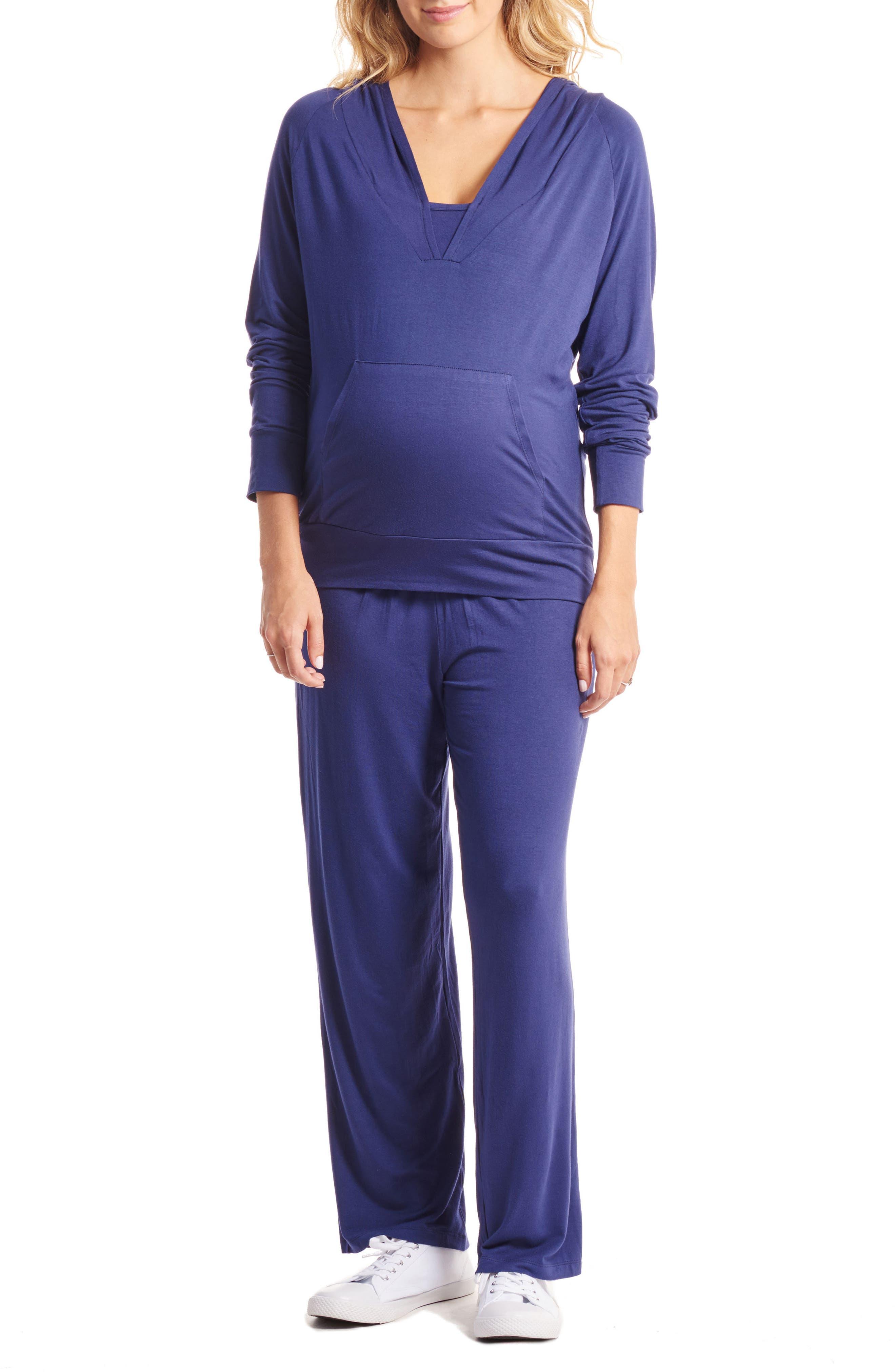 Irene Maternity/Nursing Hoodie & Pants Set,                             Alternate thumbnail 6, color,                             Navy
