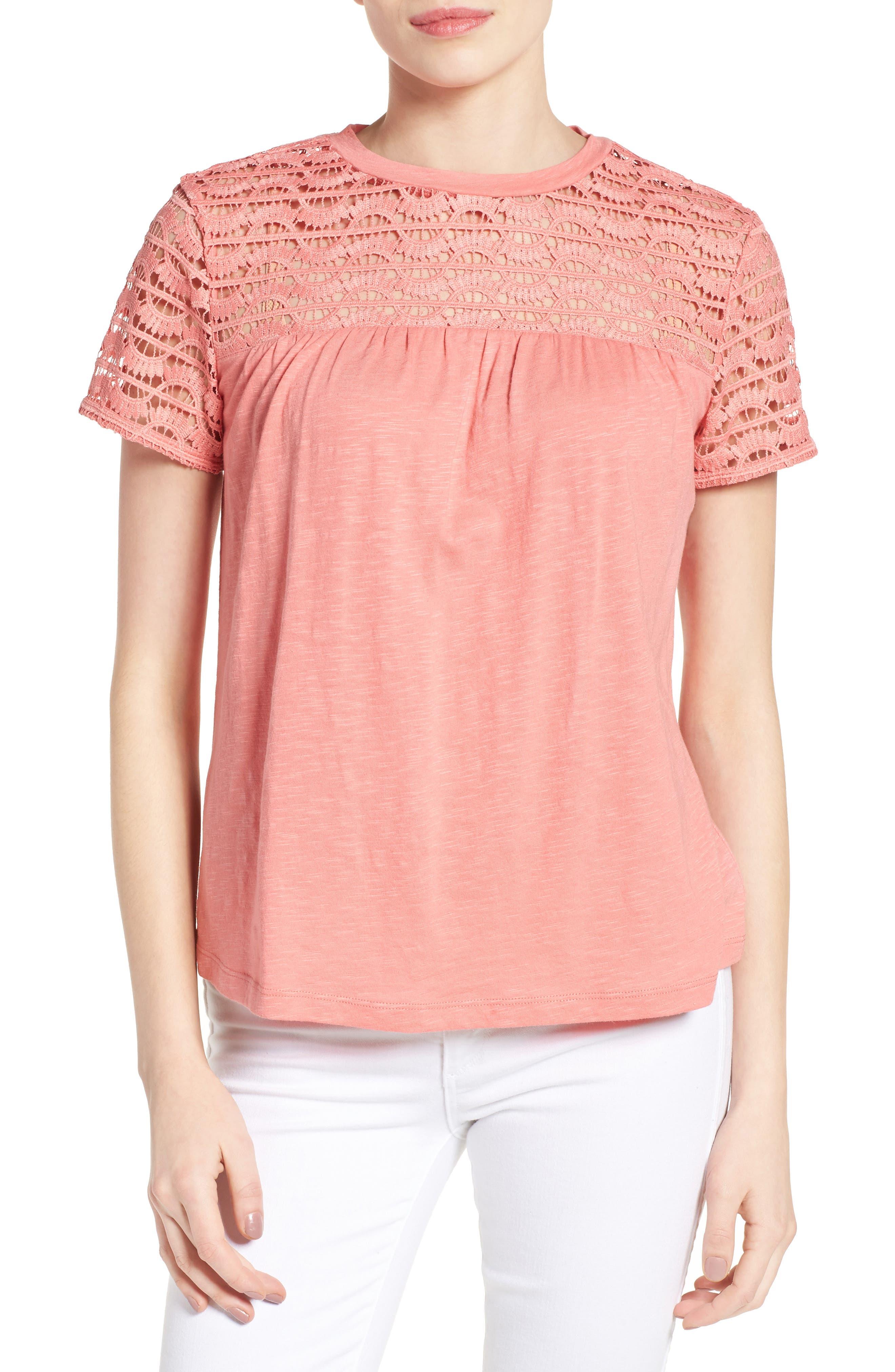 Main Image - Caslon® Lace Yoke Knit Top (Regular and Petite)