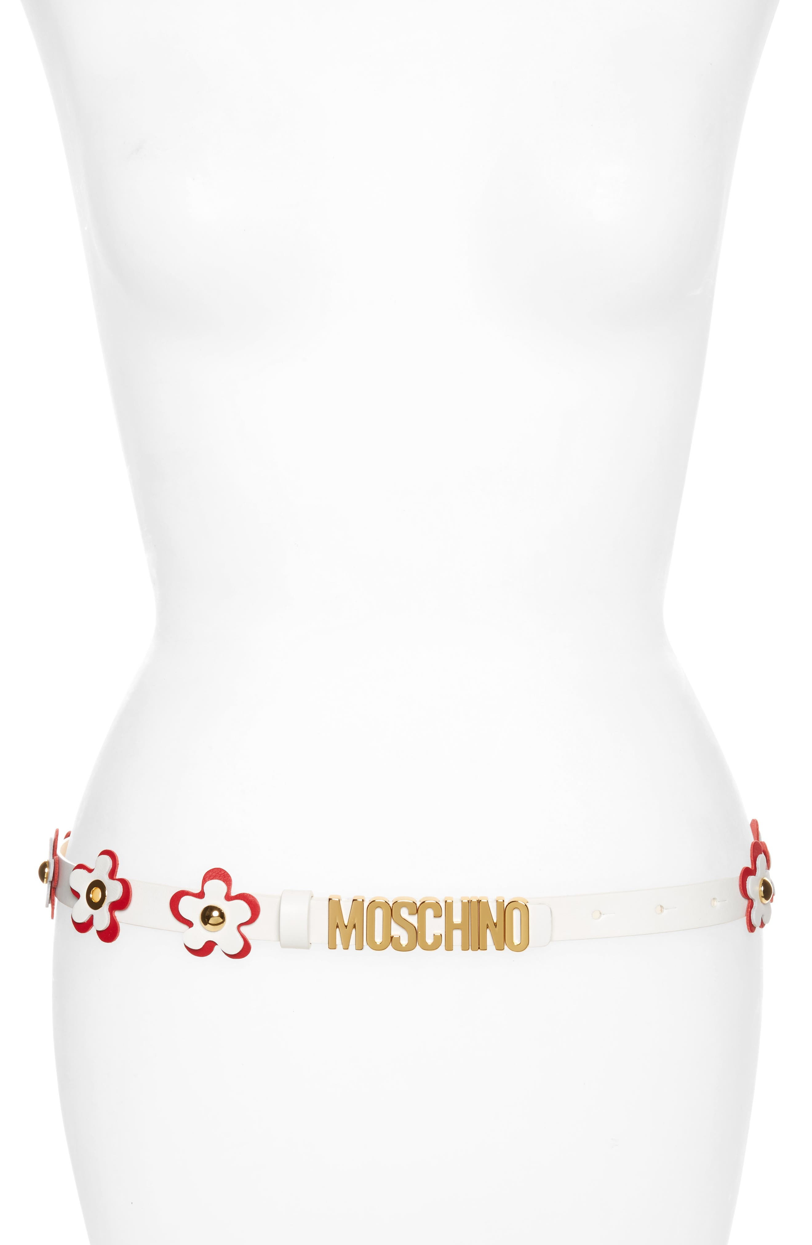Moschino Flower Logo Leather Belt
