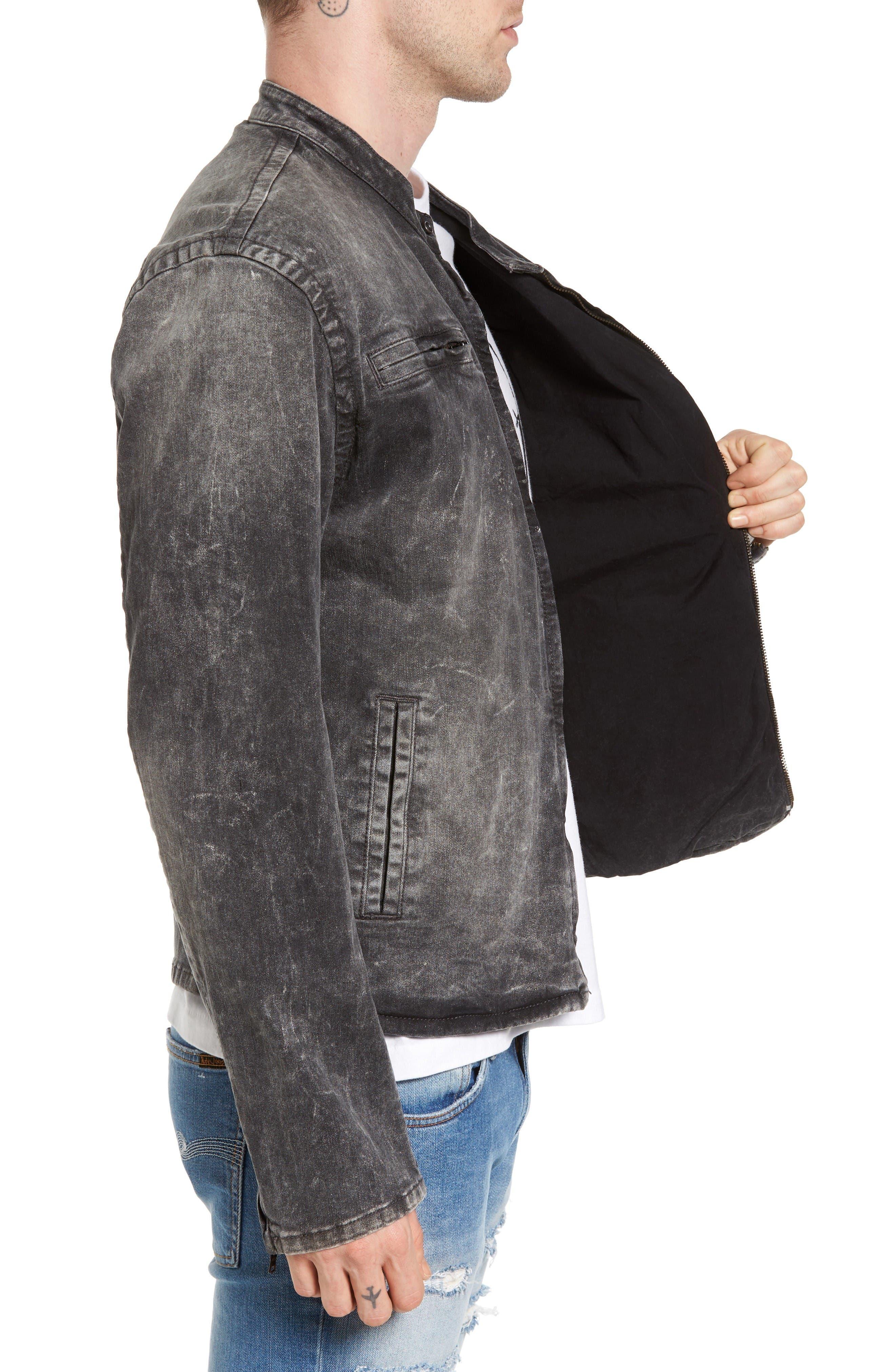 Denim Moto Jacket,                             Alternate thumbnail 3, color,                             Dii Black