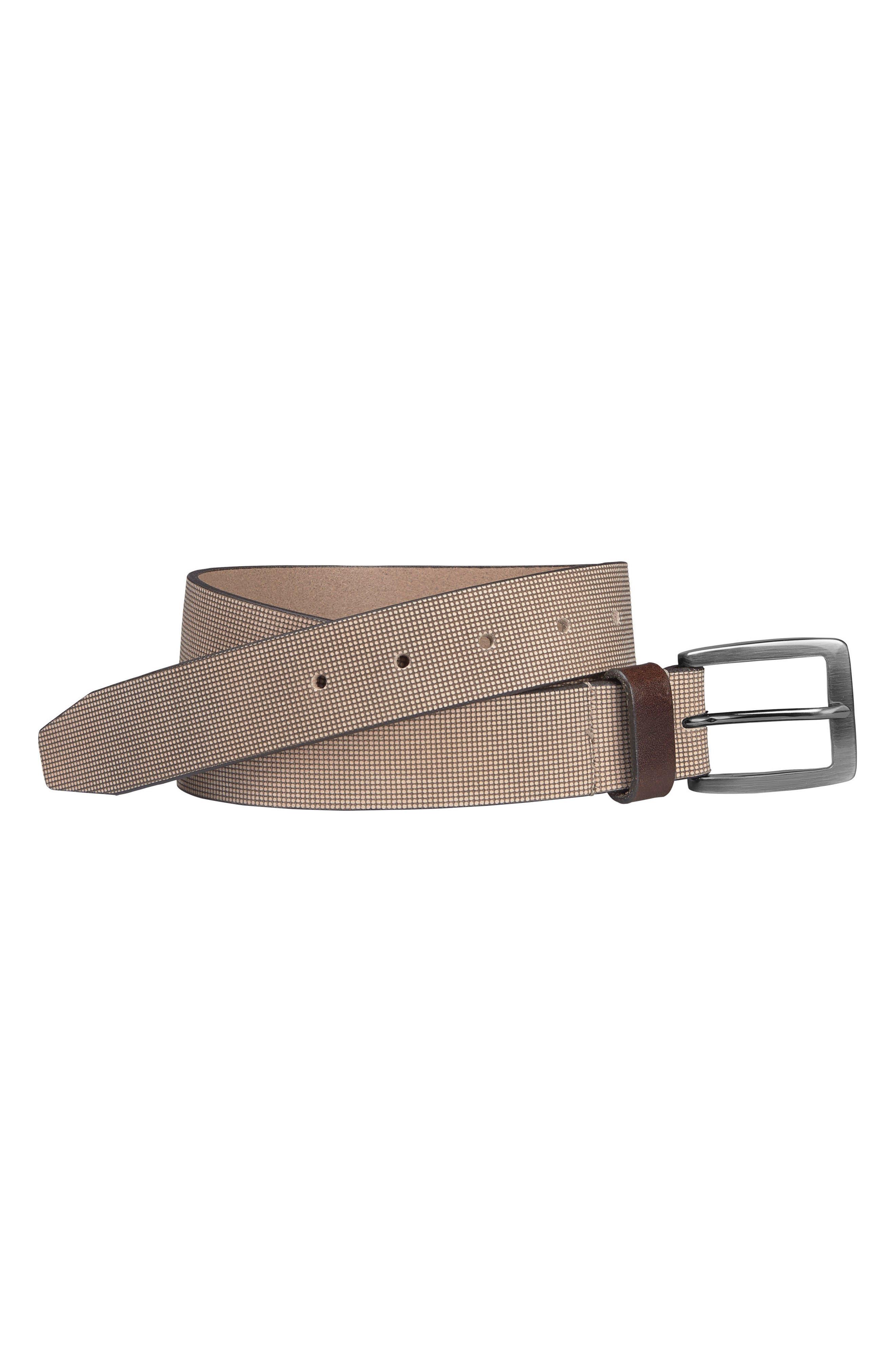 Leather Belt,                         Main,                         color, Cream