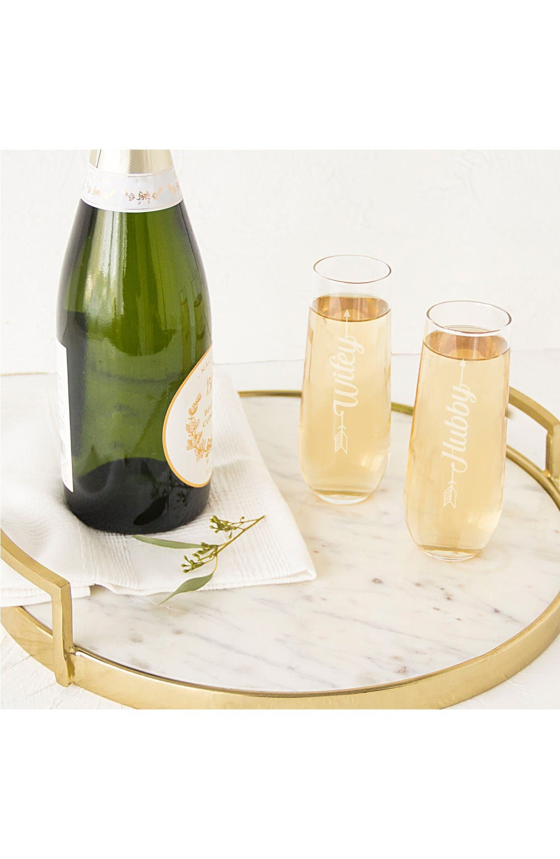 Alternate Image 4  - CATHY'S CONCEPTS Hubby/Wifey Set of 2 Stemless Champagne Flutes