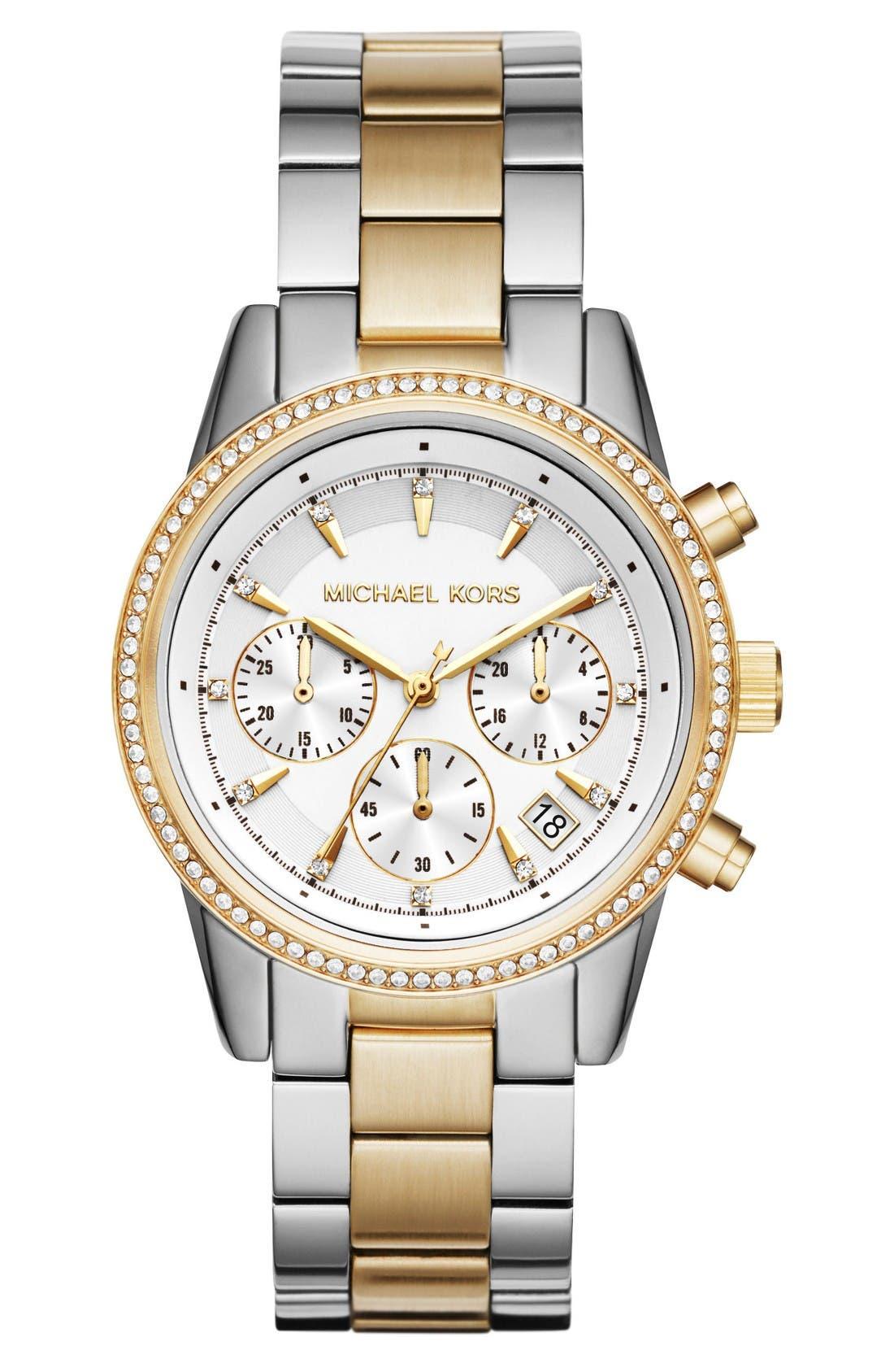 Alternate Image 1 Selected - Michael Kors Ritz Chronograph Bracelet Watch, 37mm