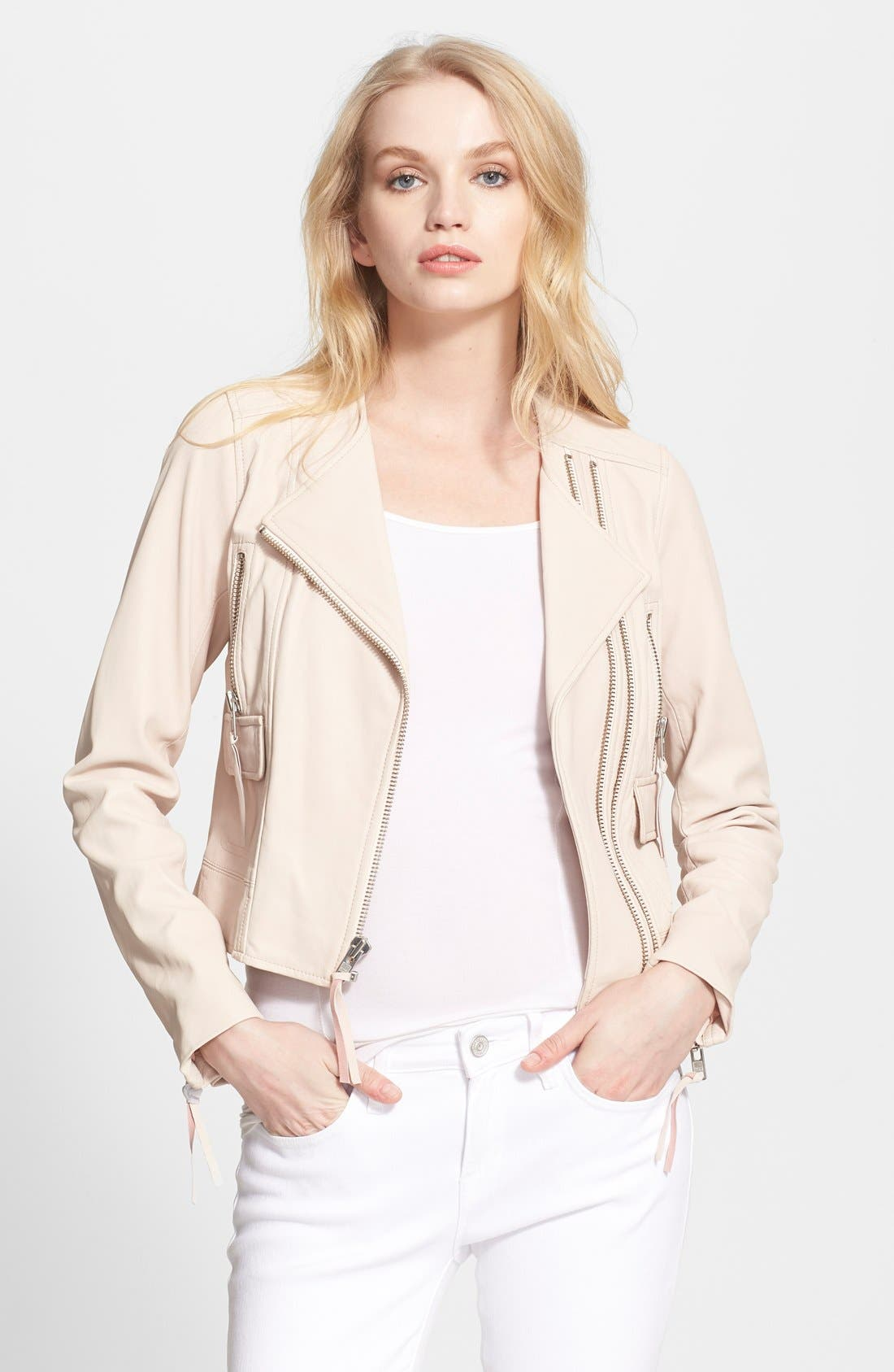 'Vivianette' Leather Moto Jacket,                             Main thumbnail 1, color,                             Soft Sand