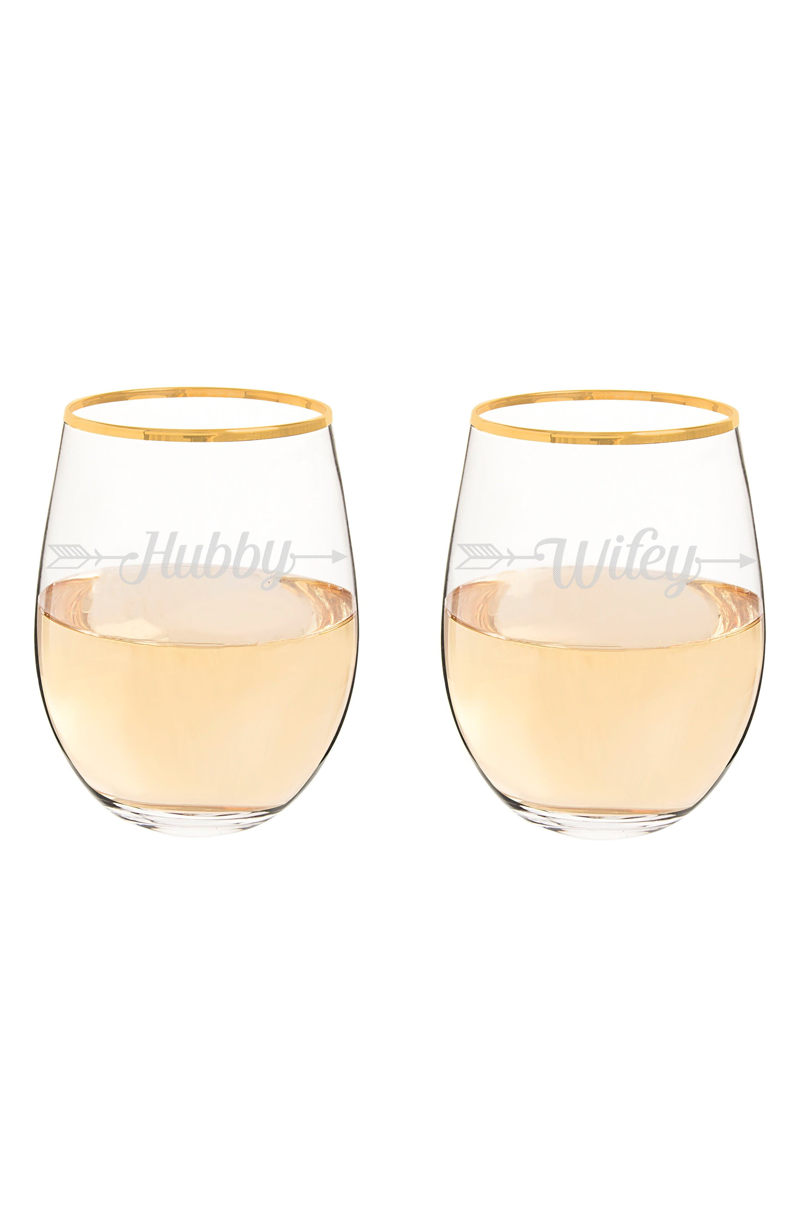 Hubby/Wifey Set of 2 Gold Rimmed Stemless Wine Glasses,                         Main,                         color, Gold
