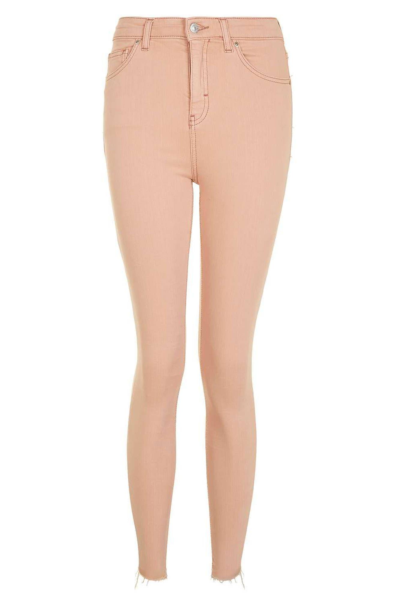 Alternate Image 5  - Topshop Jamie Raw Hem Skinny Jeans (Dusky Pink)