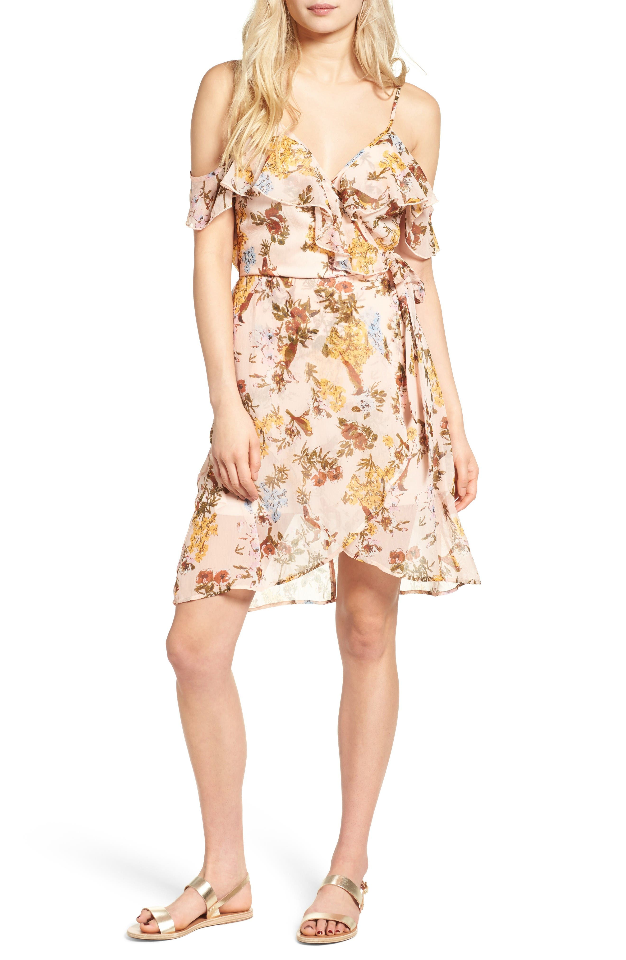 Main Image - Band of Gypsies Ruffle Cold Shoulder Wrap Dress