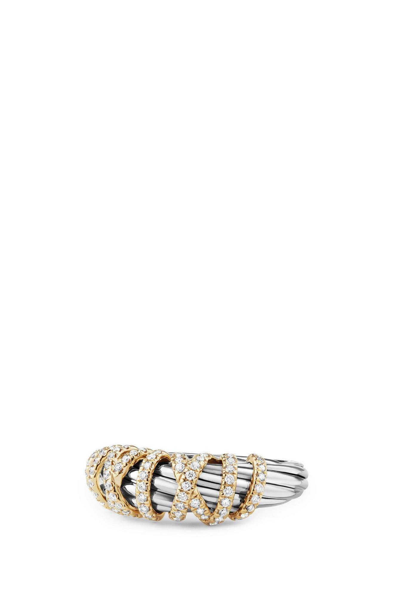 Ring with Diamond and 18K Gold, 8mm,                         Main,                         color, Silver/ Gold