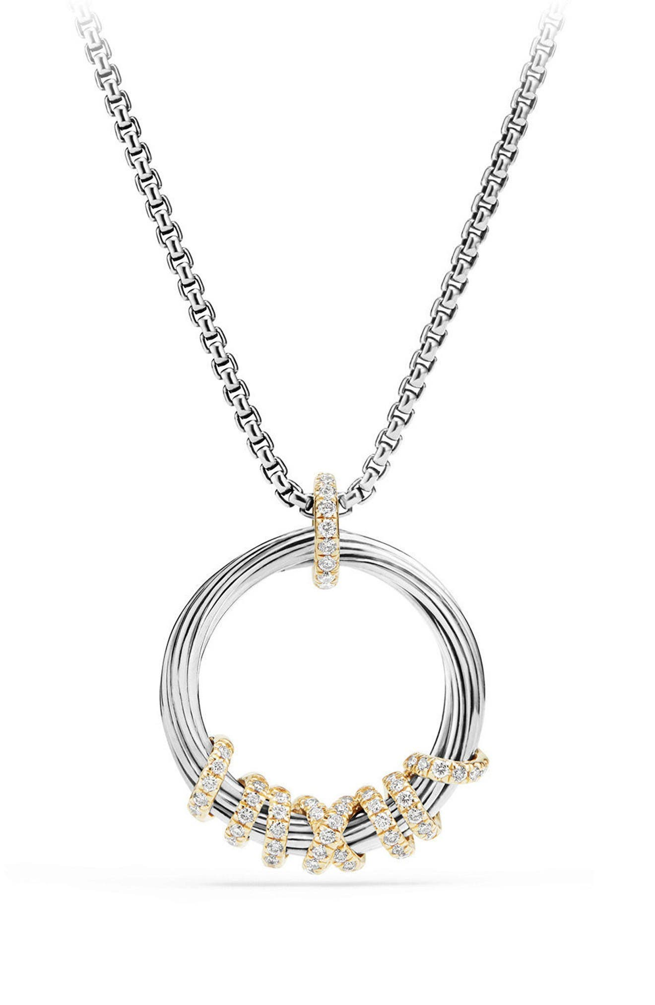 Helena Medium Pendant Necklace with Diamonds & 18K Gold,                         Main,                         color, Silver/ Gold