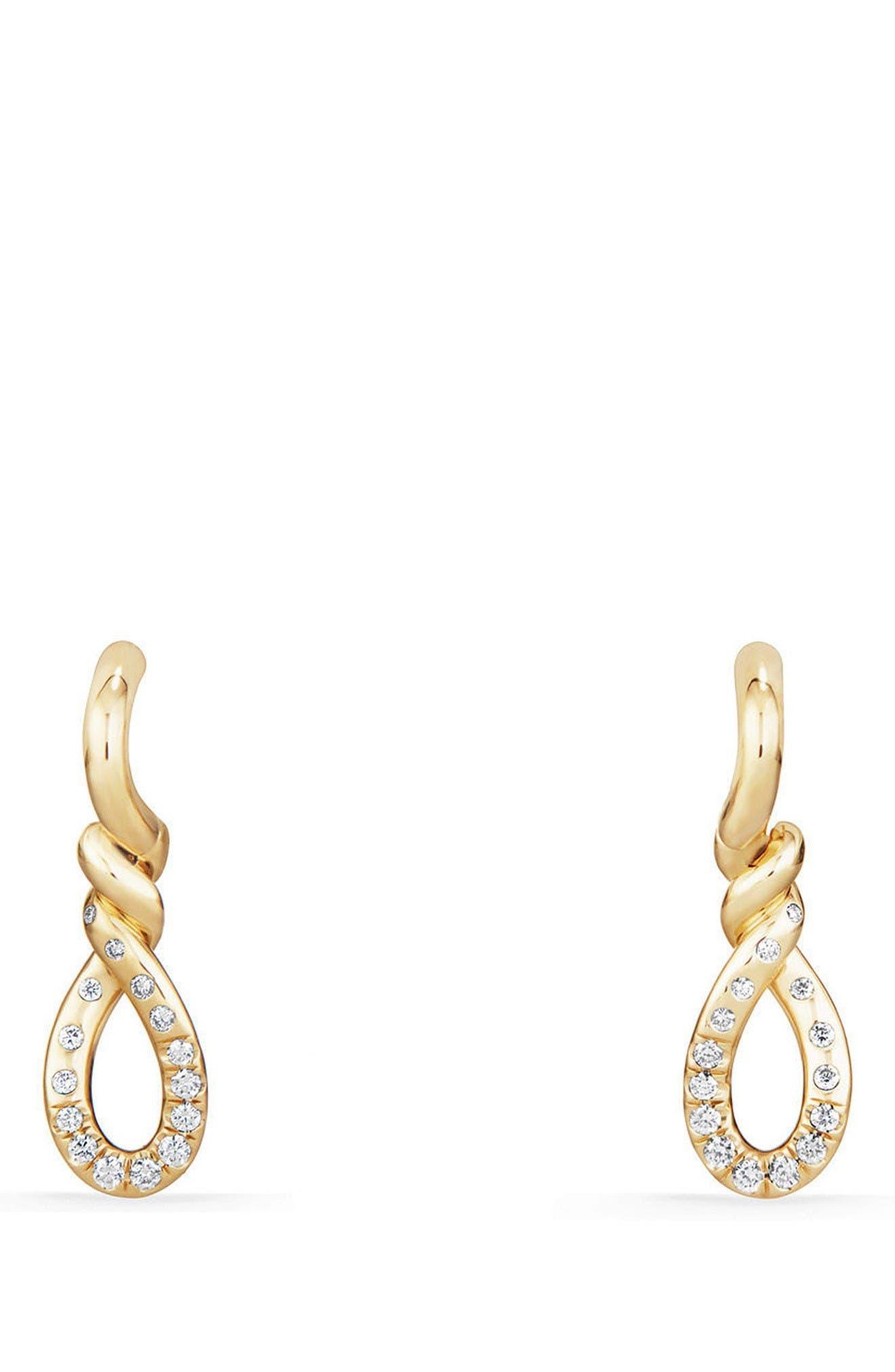 David Yurman Continuance Drop Earrings in 18K Gold with Diamonds