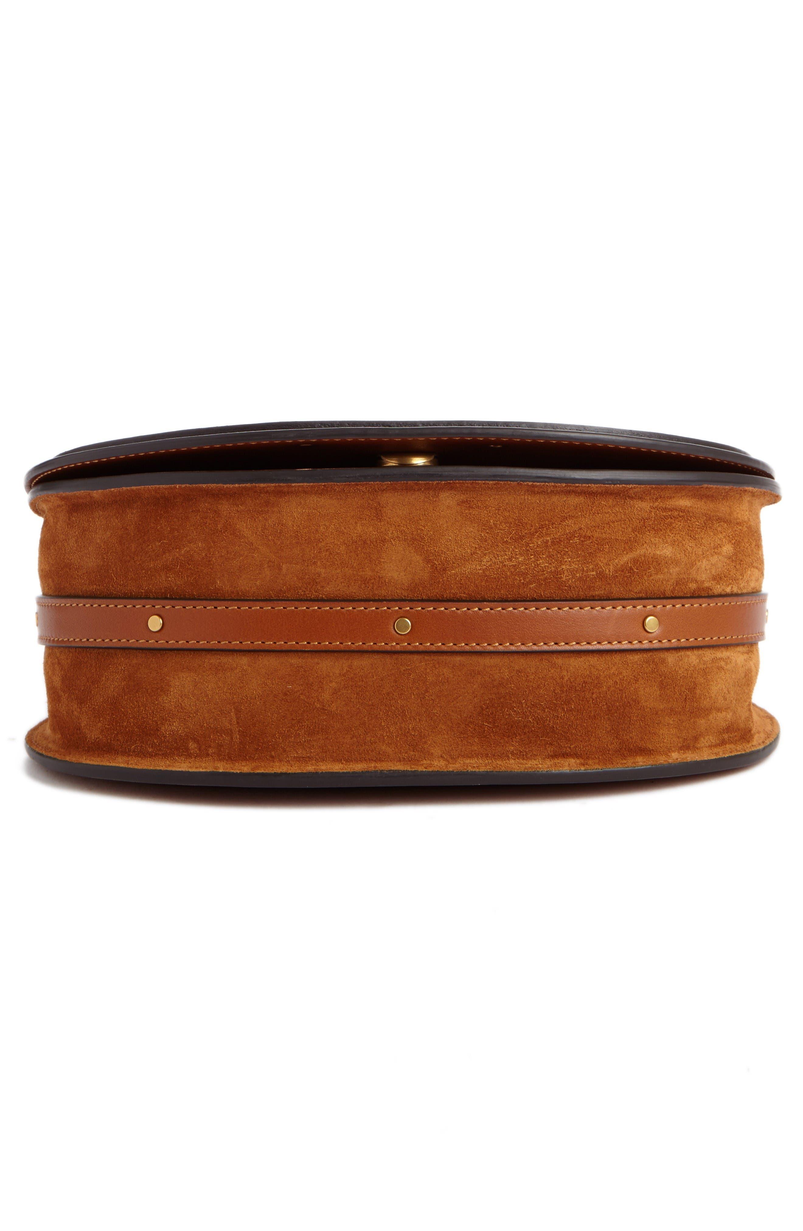 Medium Nile Leather Bracelet Saddle Bag,                             Alternate thumbnail 4, color,                             Bdu Caramel