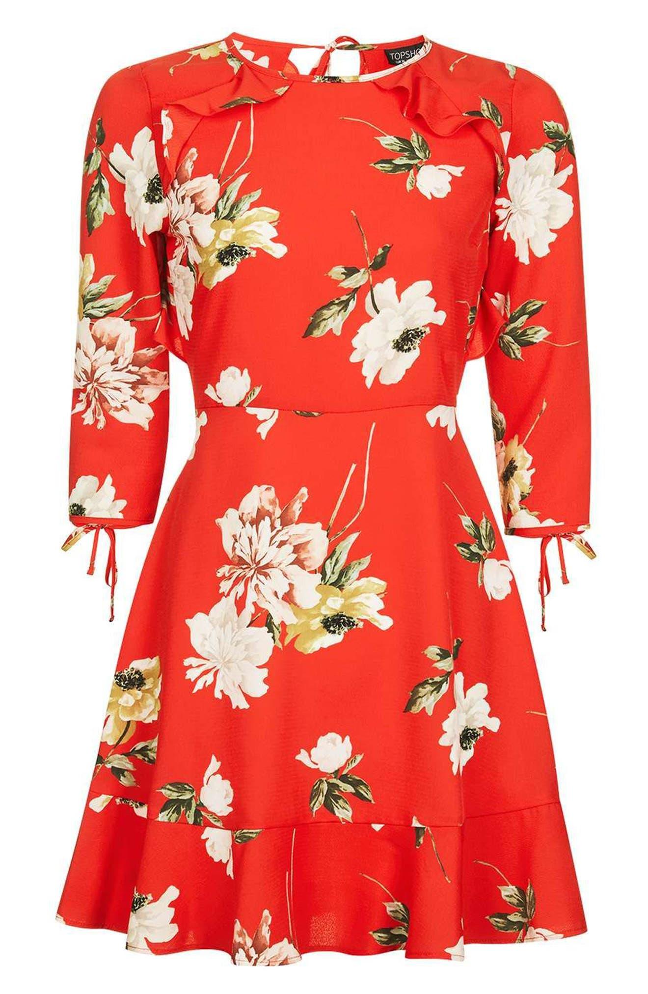 Ruffle Floral Tea Dress,                             Alternate thumbnail 4, color,                             Red Multi