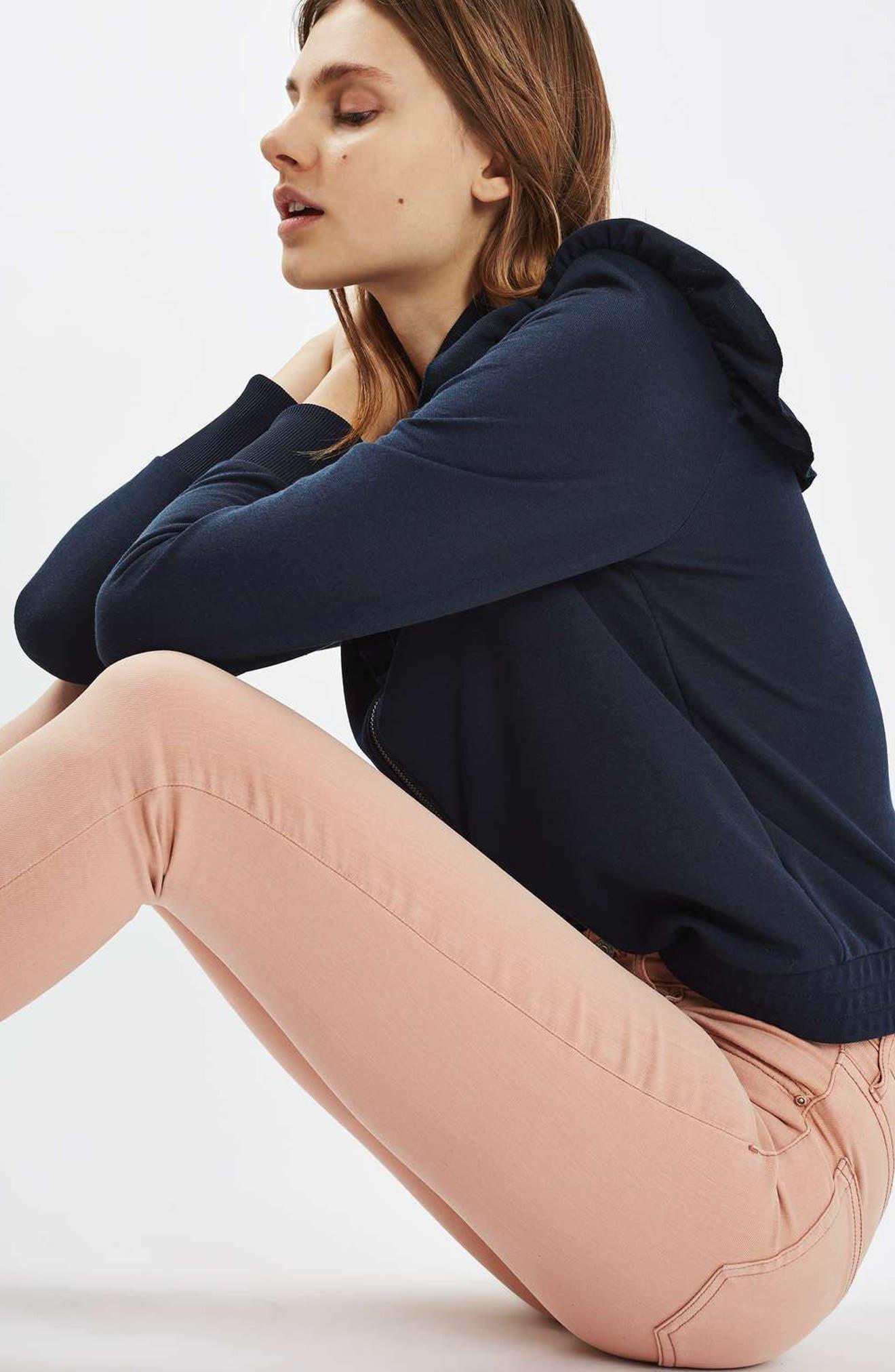 Alternate Image 2  - Topshop Jamie Raw Hem Skinny Jeans (Dusky Pink)