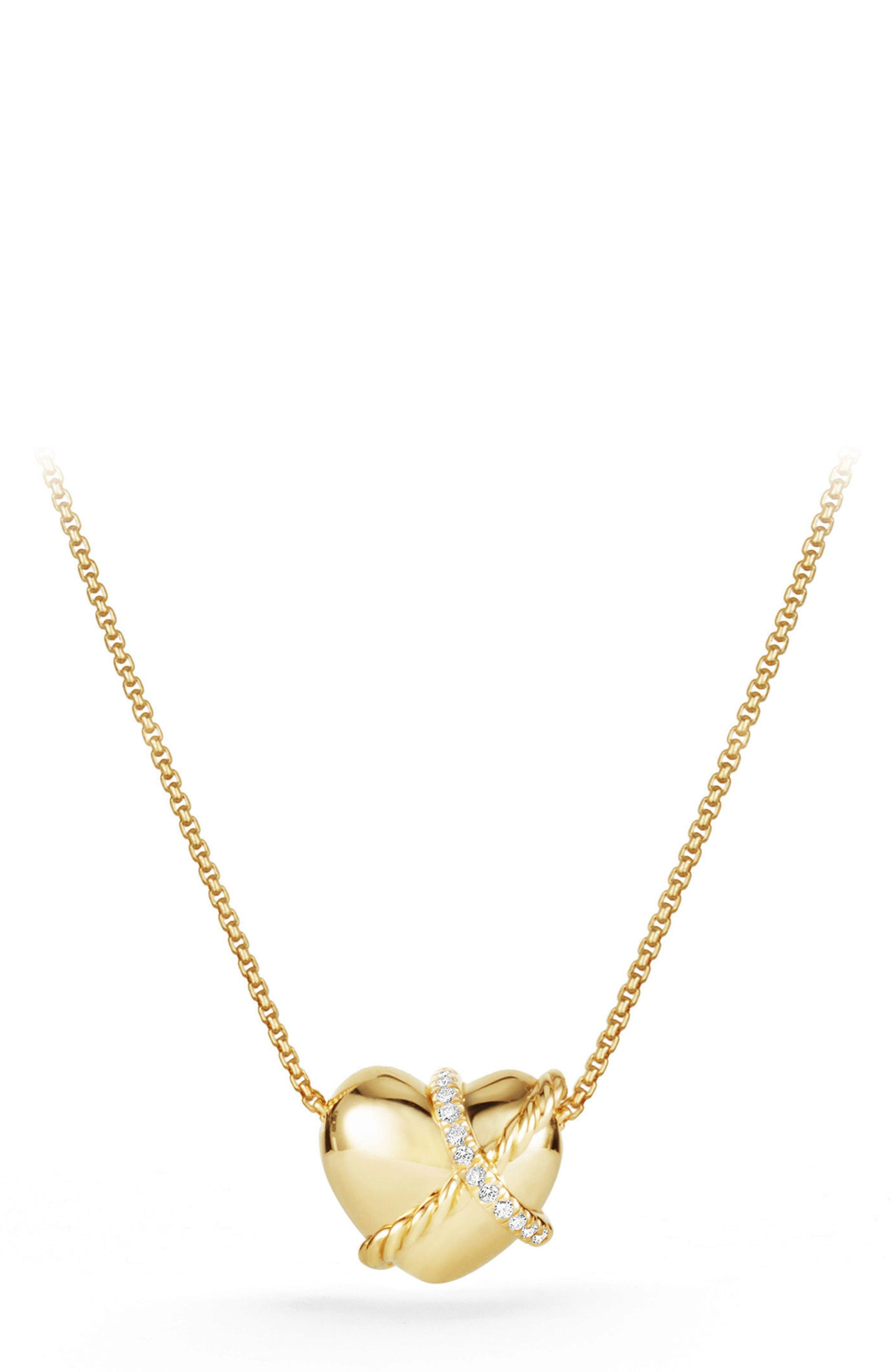 DAVID YURMAN Heart Pendant Necklace in 18K Gold with Diamonds