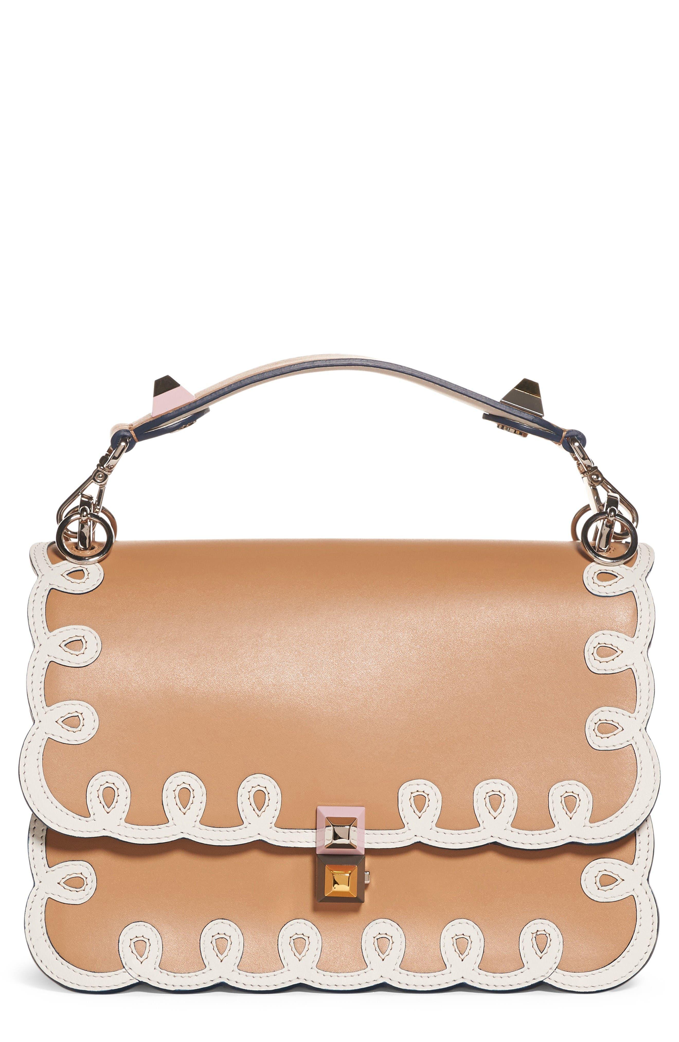 Alternate Image 1 Selected - Fendi Kan I Scalloped Leather Shoulder Bag