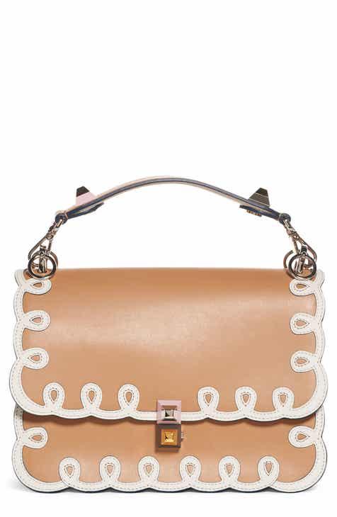 Fendi Kan I Scalloped Leather Shoulder Bag
