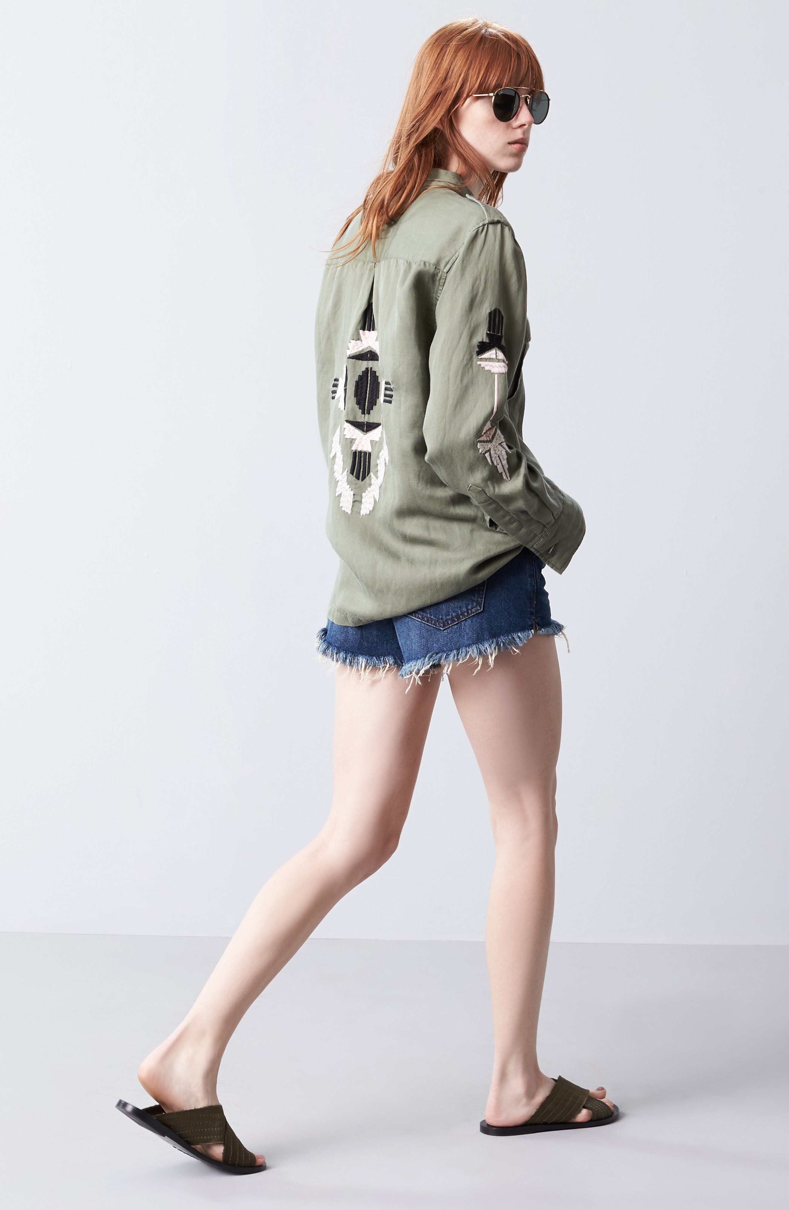 Rails Jacket & Free People Shorts Outfit with Accessories