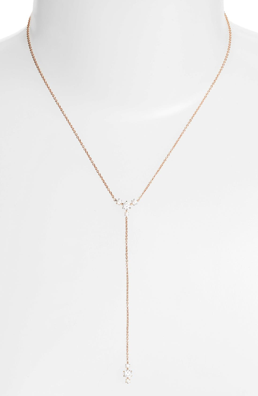 Edwardian Crystal Y-Necklace,                         Main,                         color, Rose Gold