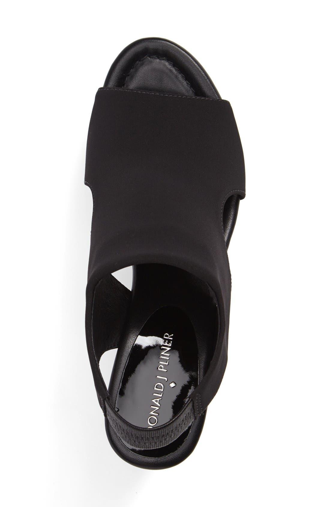Donald J Pliner Fonda Platform Wedge Sandal,                             Alternate thumbnail 3, color,                             Black Crepe