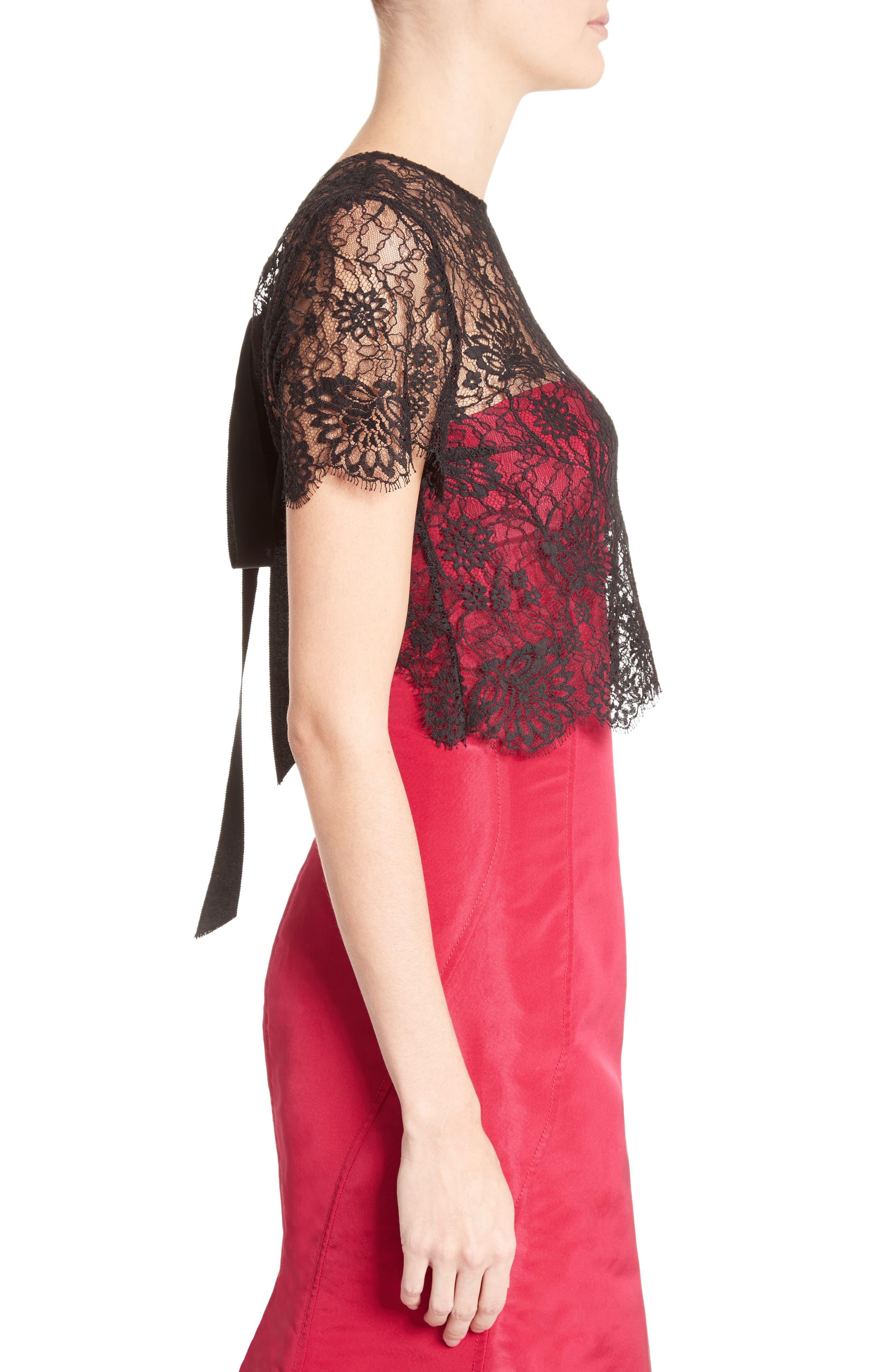 Alternate Image 5  - Oscar de la Renta Tie Back Lace Bolero